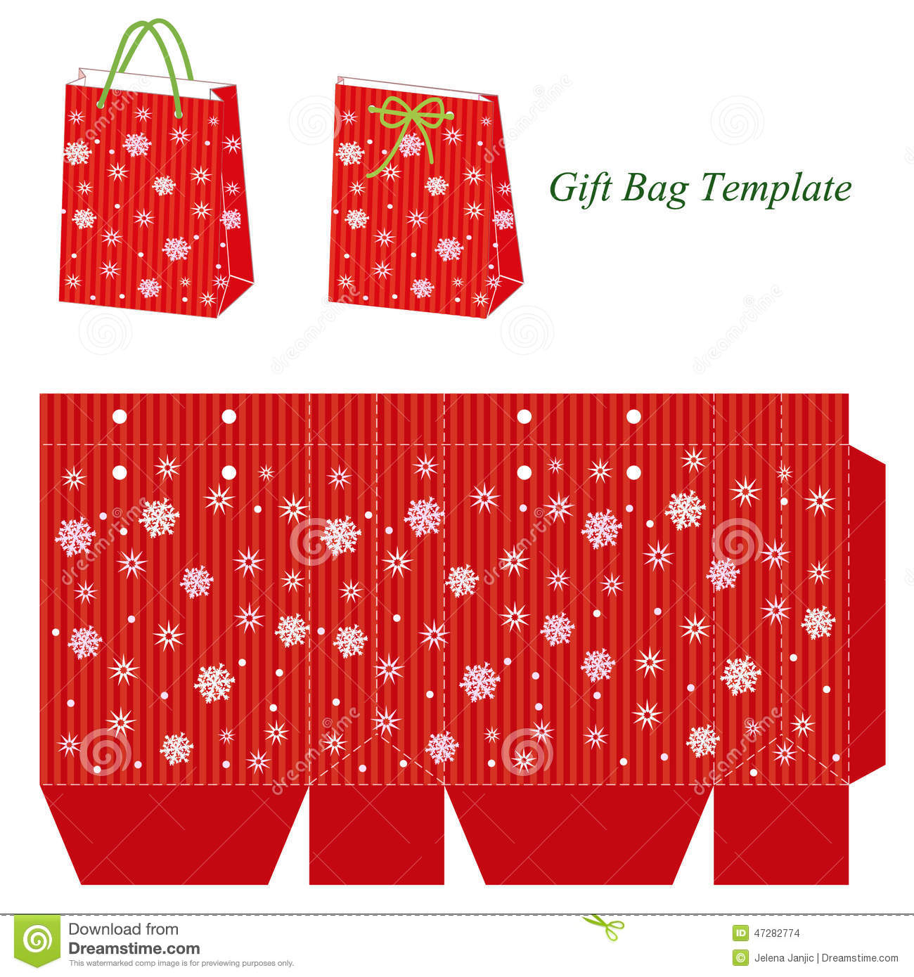 Red Gift Bag Template ...