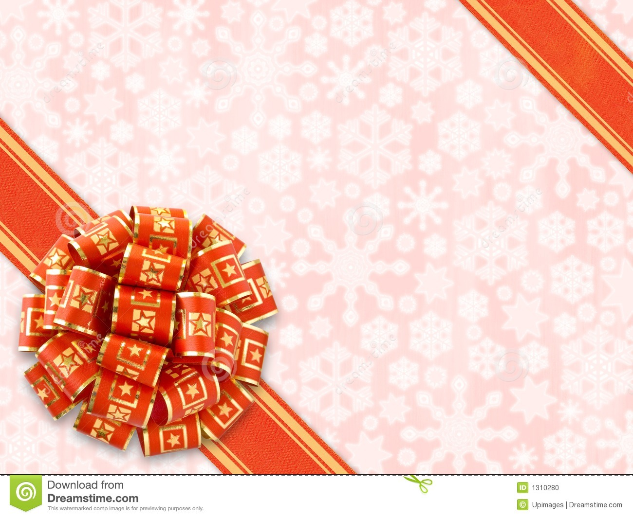 Red gift bow over snowflakes background stock photo image of red gift bow over snowflakes background negle Images