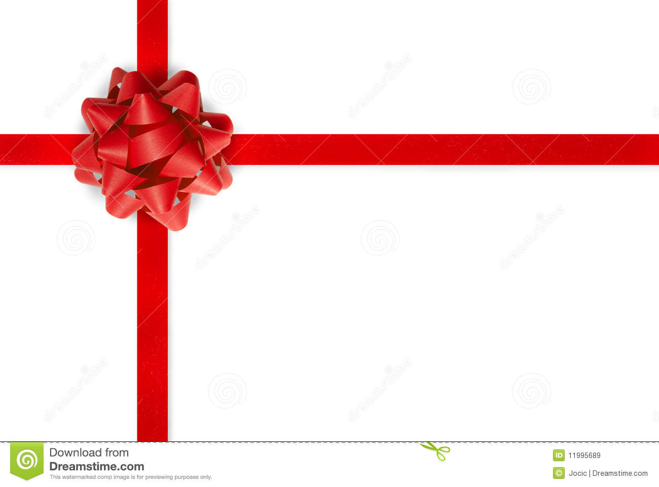 Large red gift ribbon wrapped around a white background tied with a ...