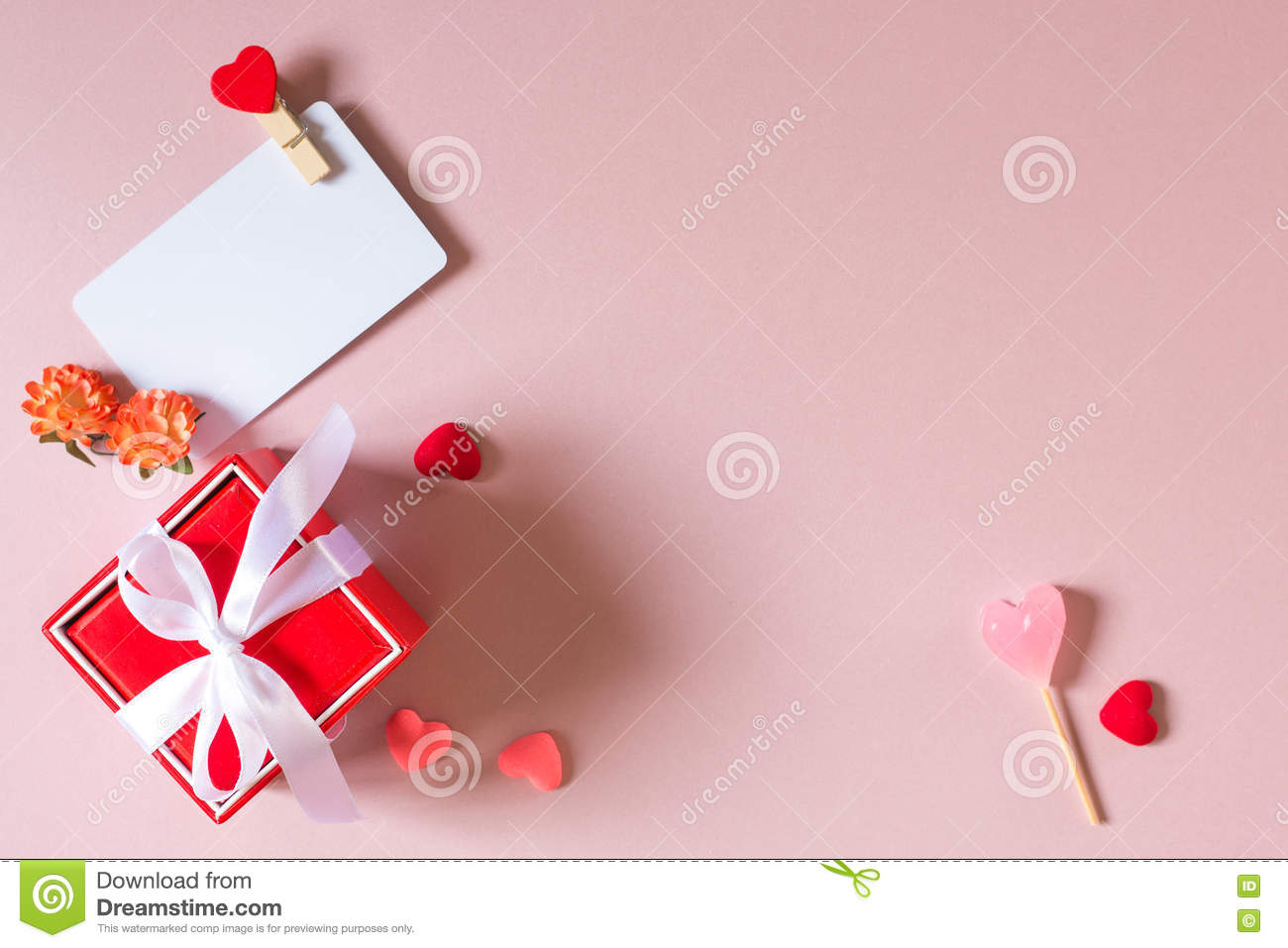 Red Gift Box With Bow Credit Visiting Card Template With Clamp