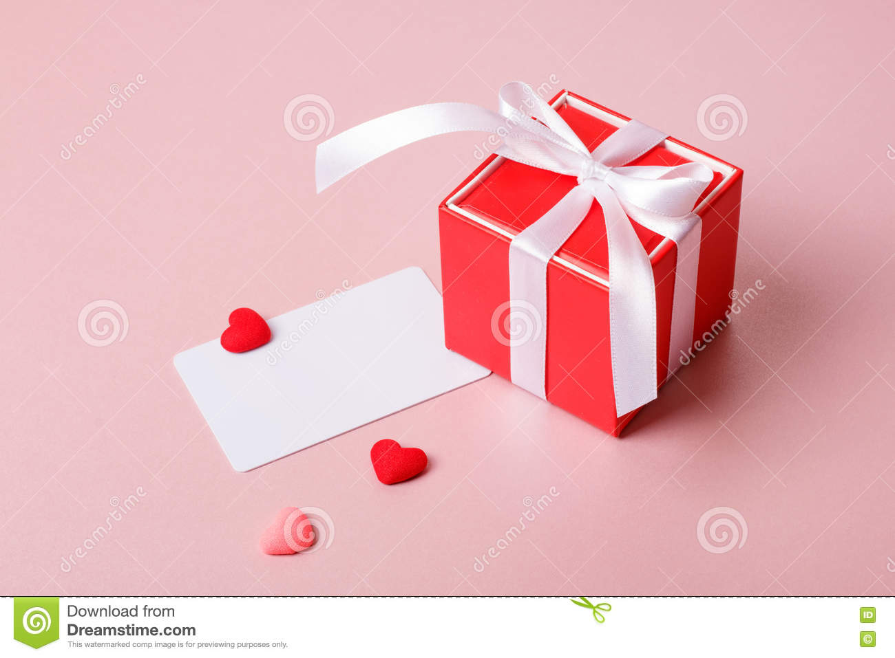 Red gift box with bow credit visiting card template and small download red gift box with bow credit visiting card template and small hearts stock maxwellsz