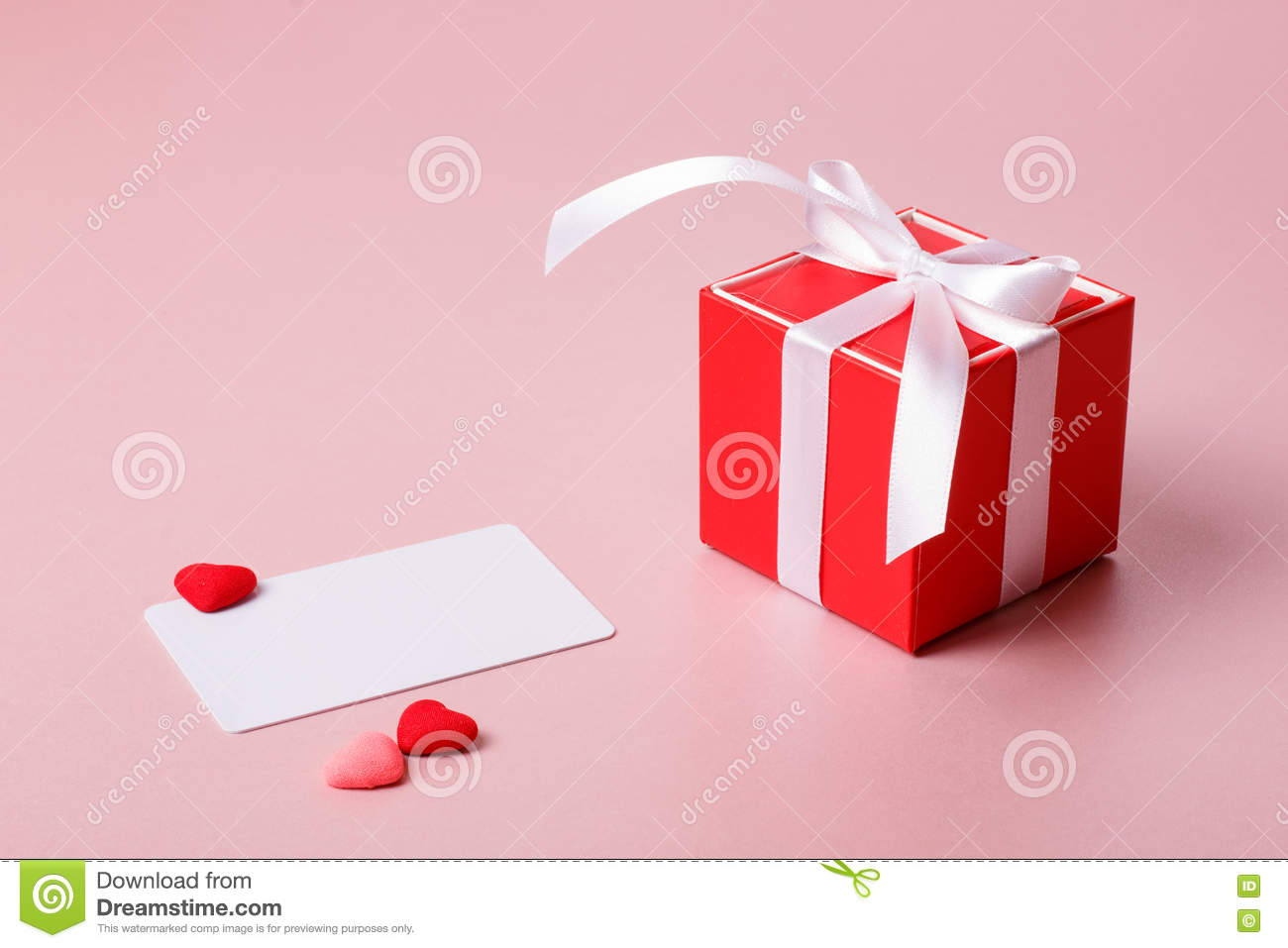 Red Gift Box With Bow Credit Visiting Card Template And Small