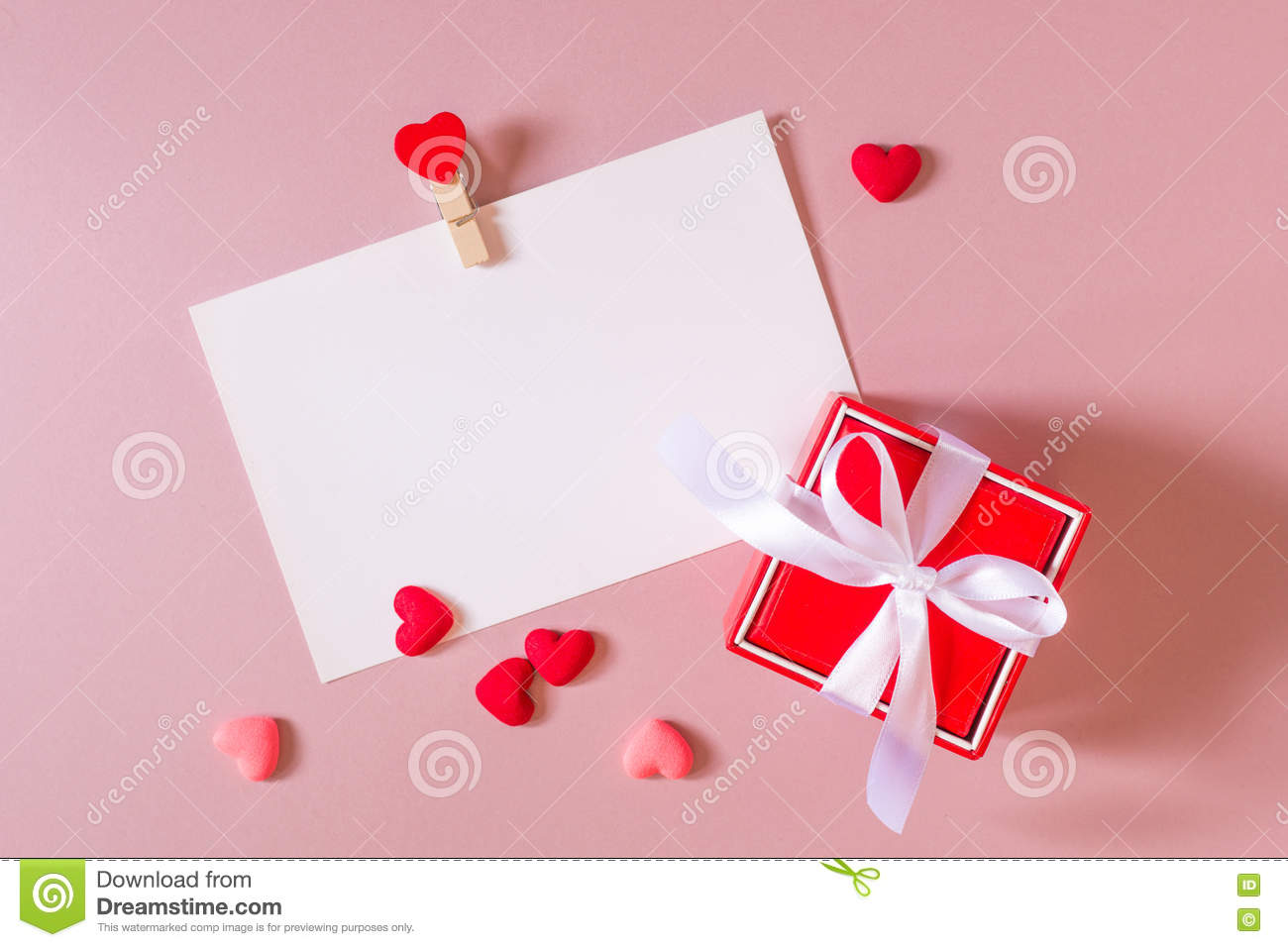 Red Gift Box With Bow Stationery Photo Postcard Template With