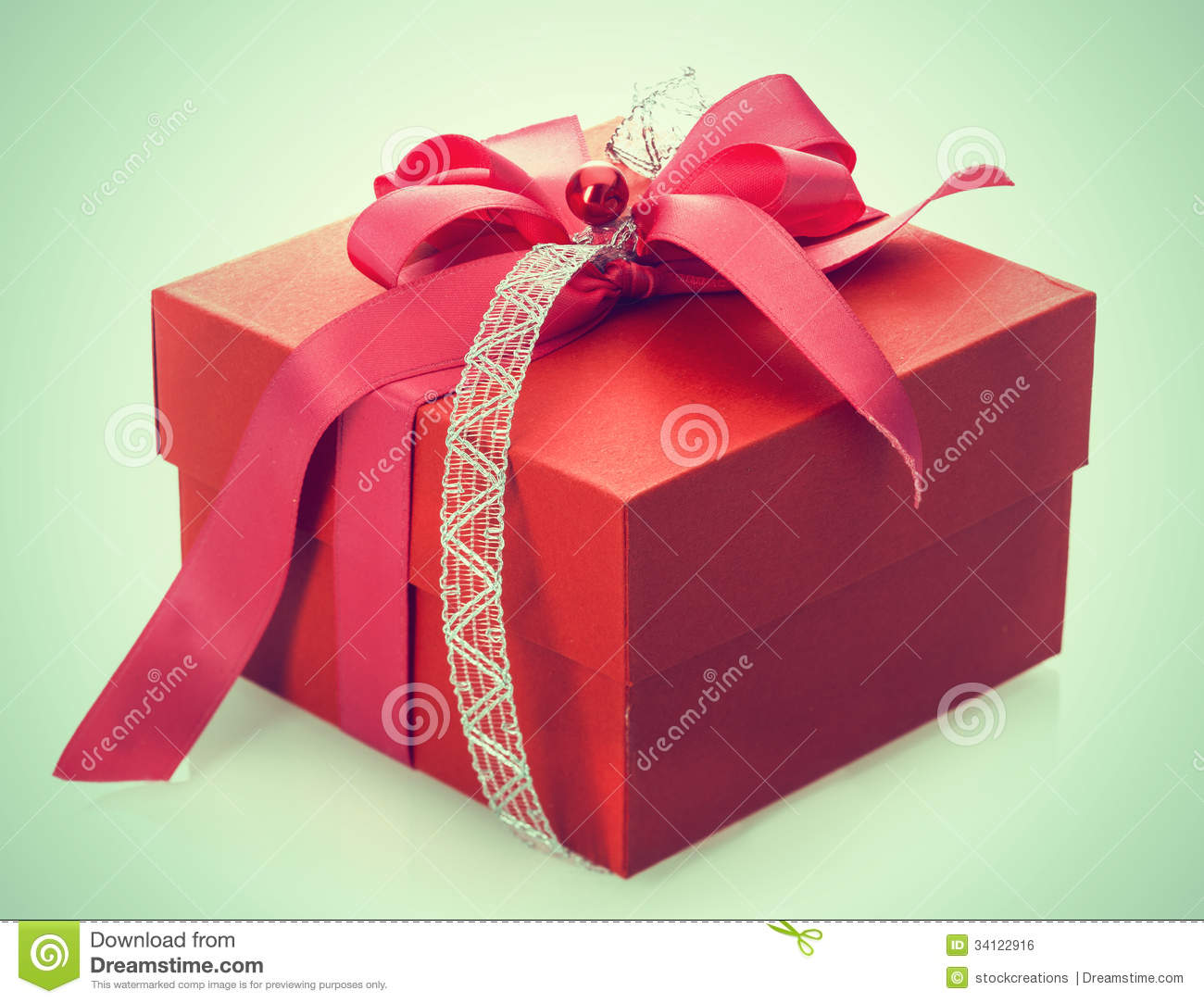Decorative valentine boxes : Red gift box with decorative bow royalty free stock image