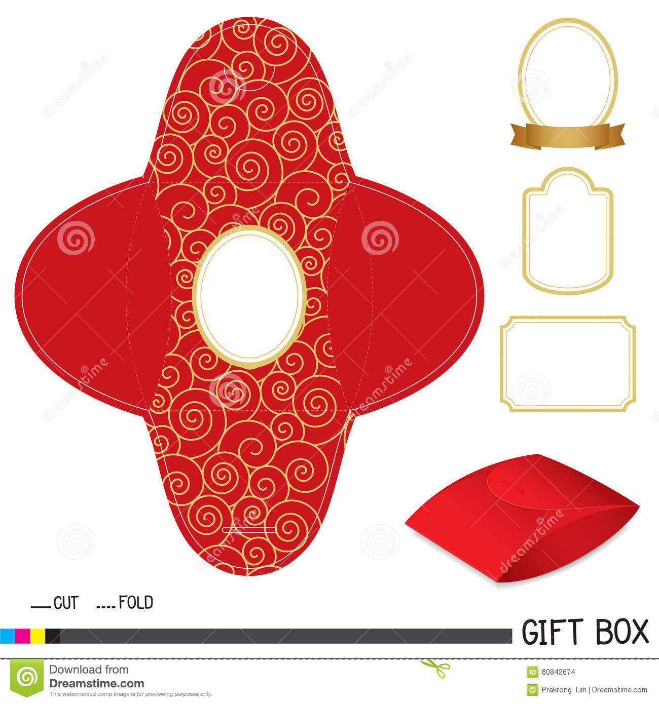 red gift box design with label stock vector illustration of gift
