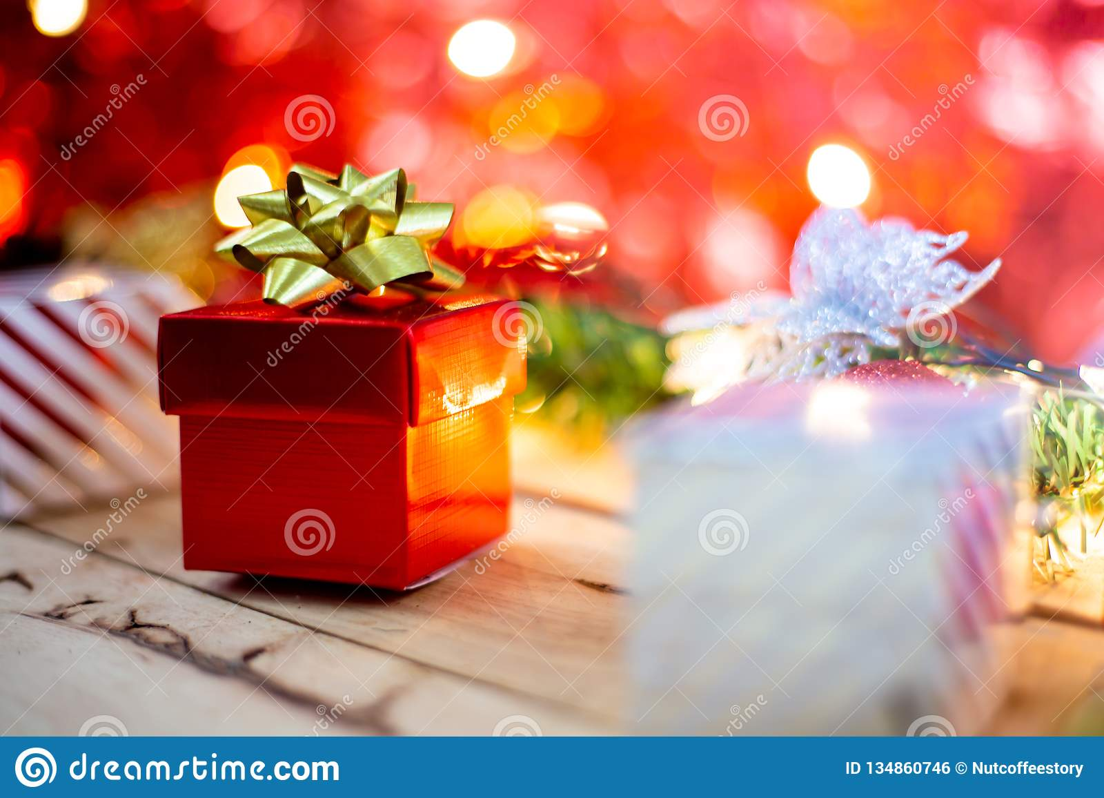 Red Gift Box Gold Ribbon Bow Gift And Christmas Decoration ...