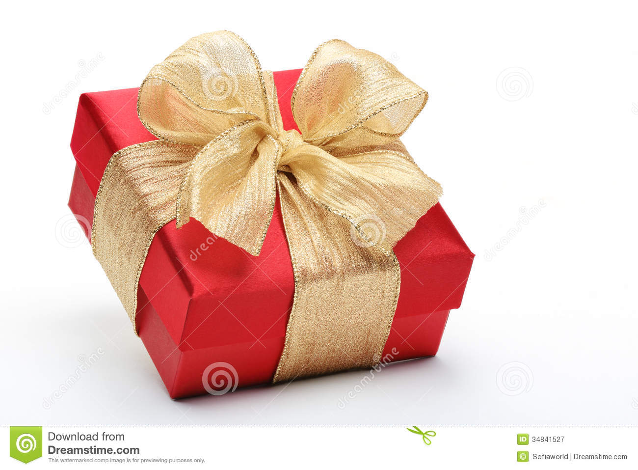 Red gift box with gold ribbon bow royalty free stock