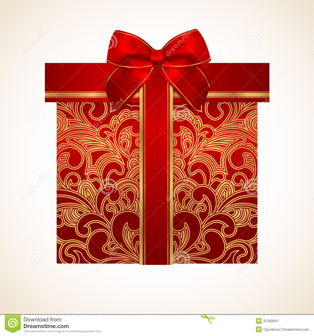red gift box with golden pattern  bow  ribbon stock vector