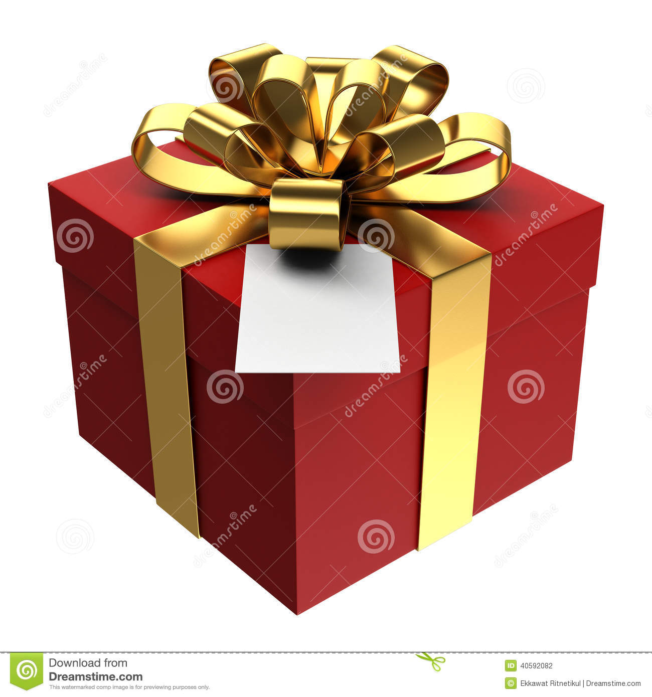 Red Gift Box With Golden Ribbon And Paper Card Png