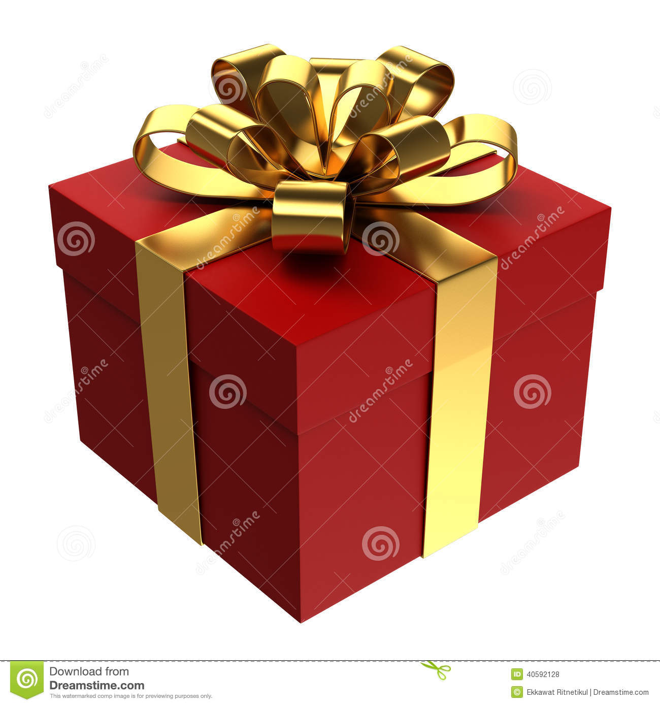 Red Gift Box With Golden Ribbon Png Transparent Background