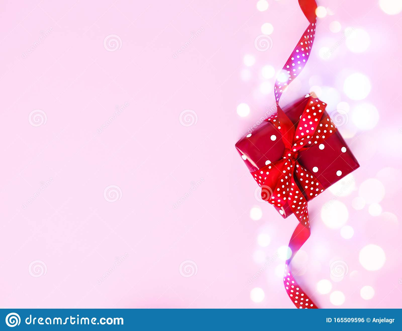 Red Gift Box On Pink Background Presents For Christmas Valentine Day Birthday Mother S Day Stock Photo Image Of Copy Bright 165509596