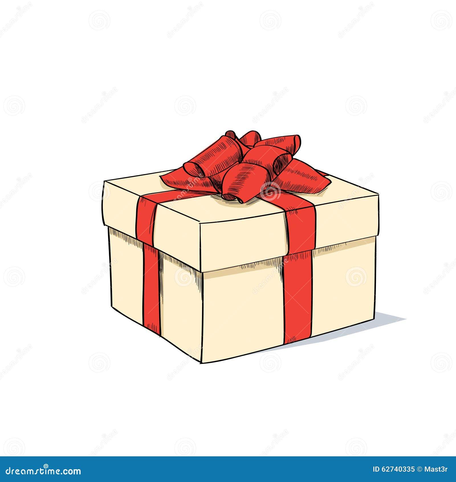 red gift box present sketch retro vector stock vector
