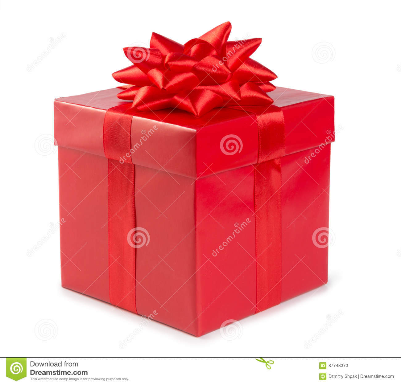 Red gift box with ribbon isolated on white background