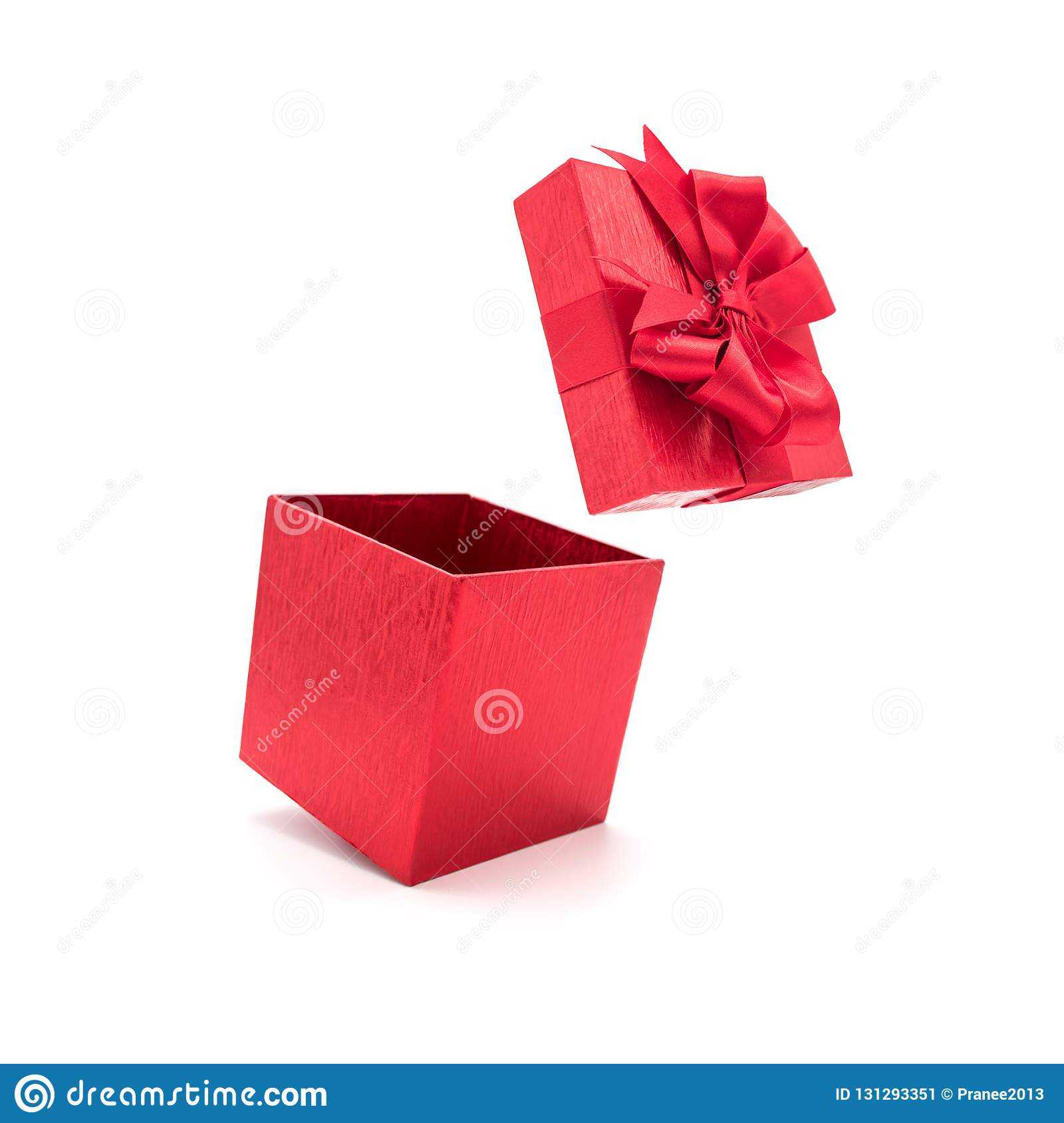 Red Gift Box With Ribbon Open Stock Image Image Of Birthday