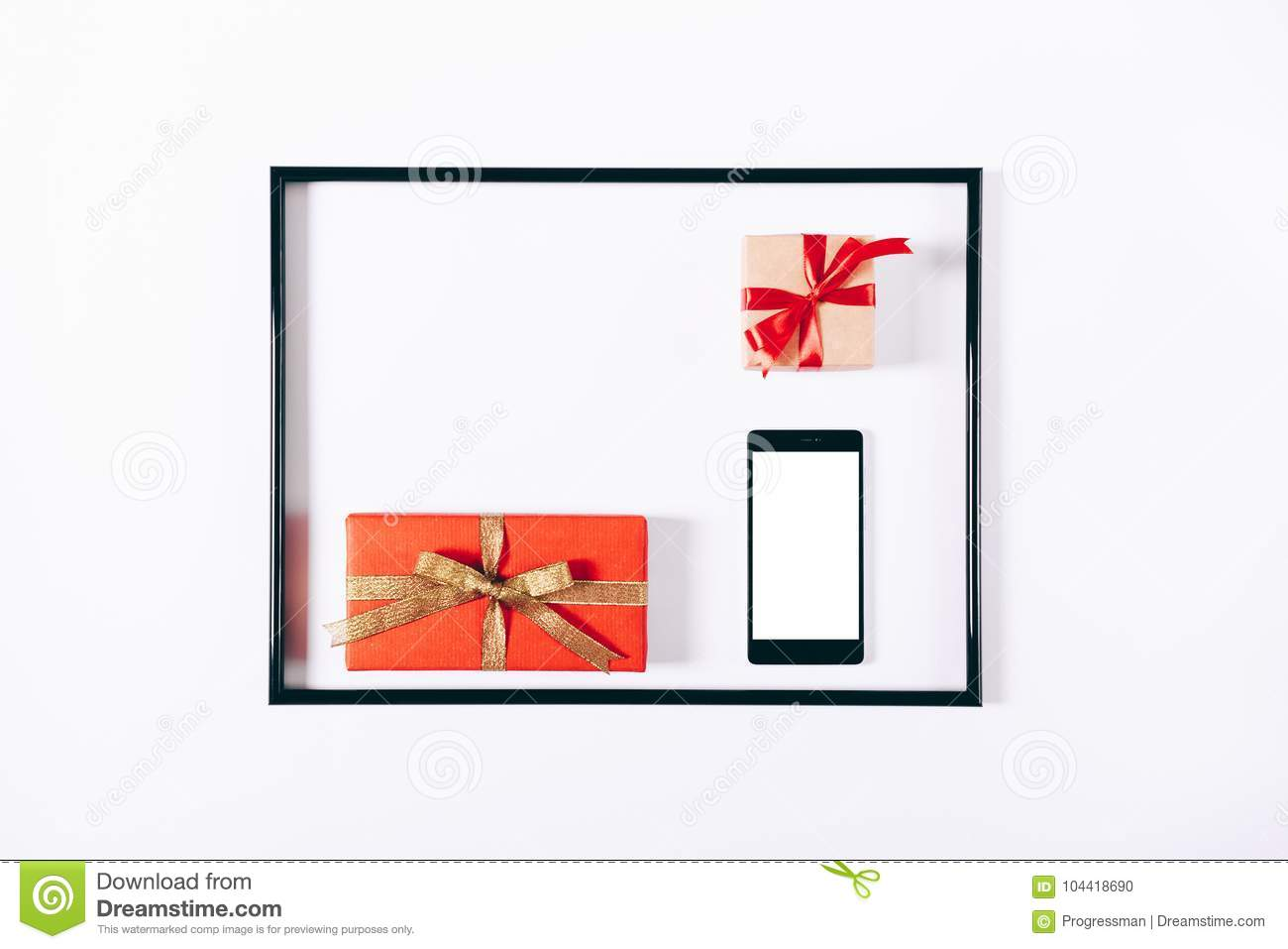 Red Gift Boxes With Ribbons And Mobile Phone In A Frame Stock Photo ...