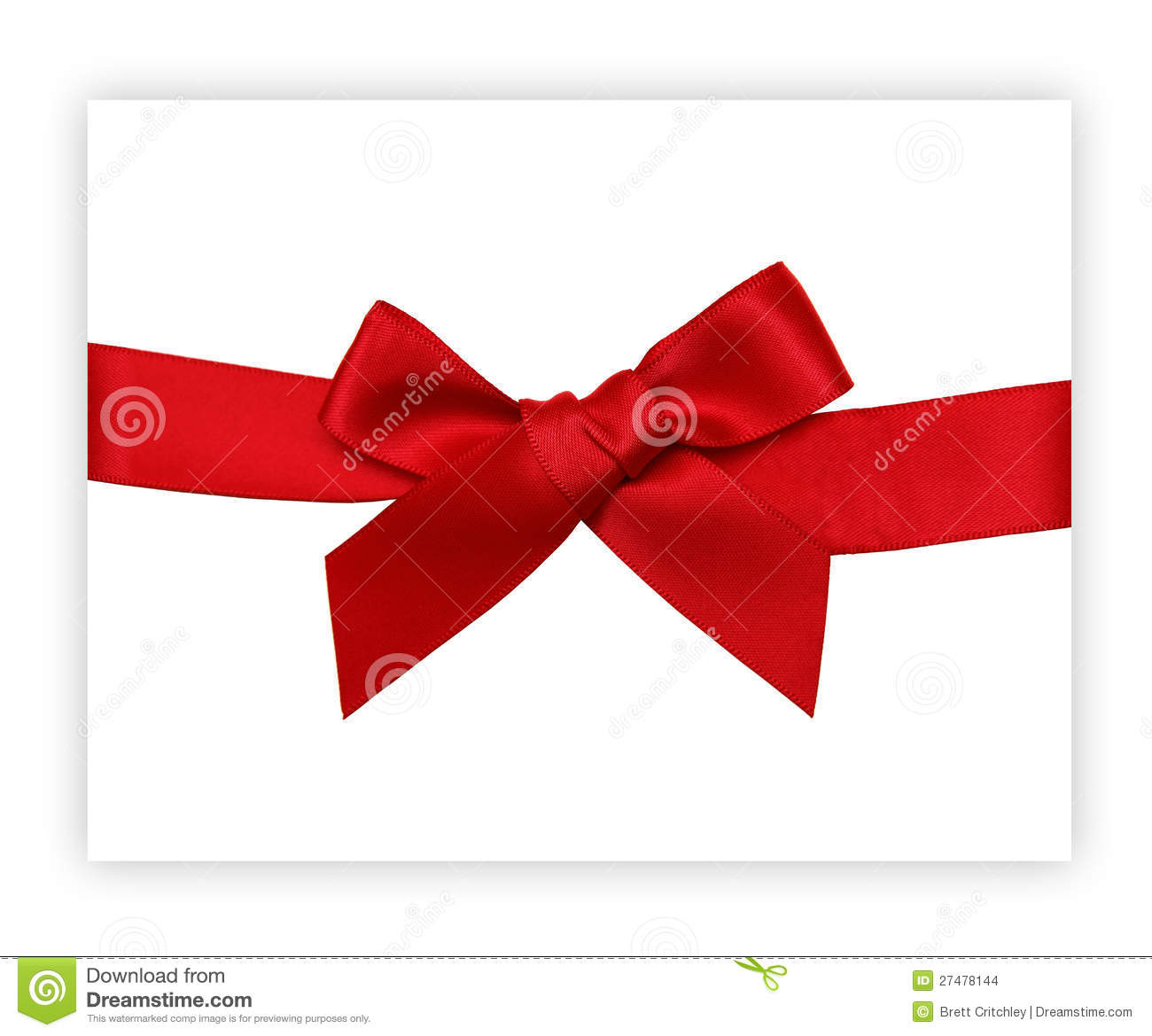 Red gift bows border with clipping path for easy background removing - Red Gift Ribbon Bow Stock Images