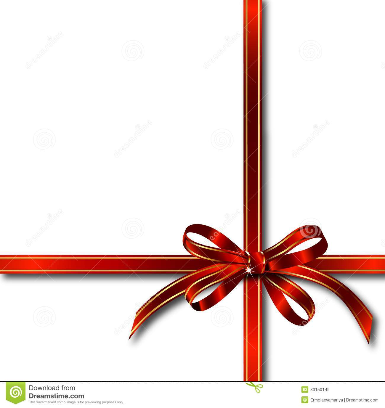 Red gift bows border with clipping path for easy background removing - Red Gift Ribbon Over White Vector Royalty Free Stock Images
