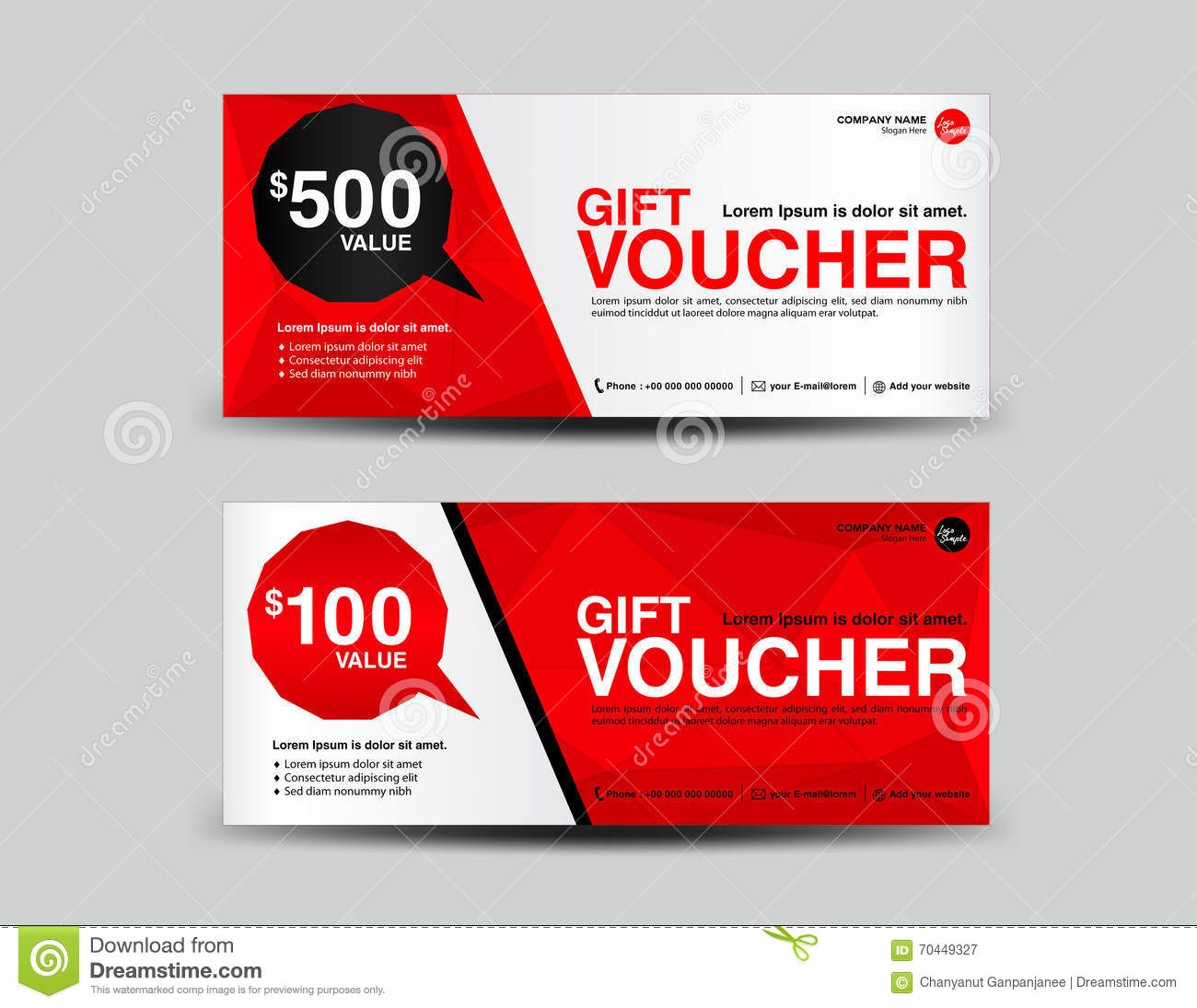 red gift voucher coupon design ticket banner cards polygon bac