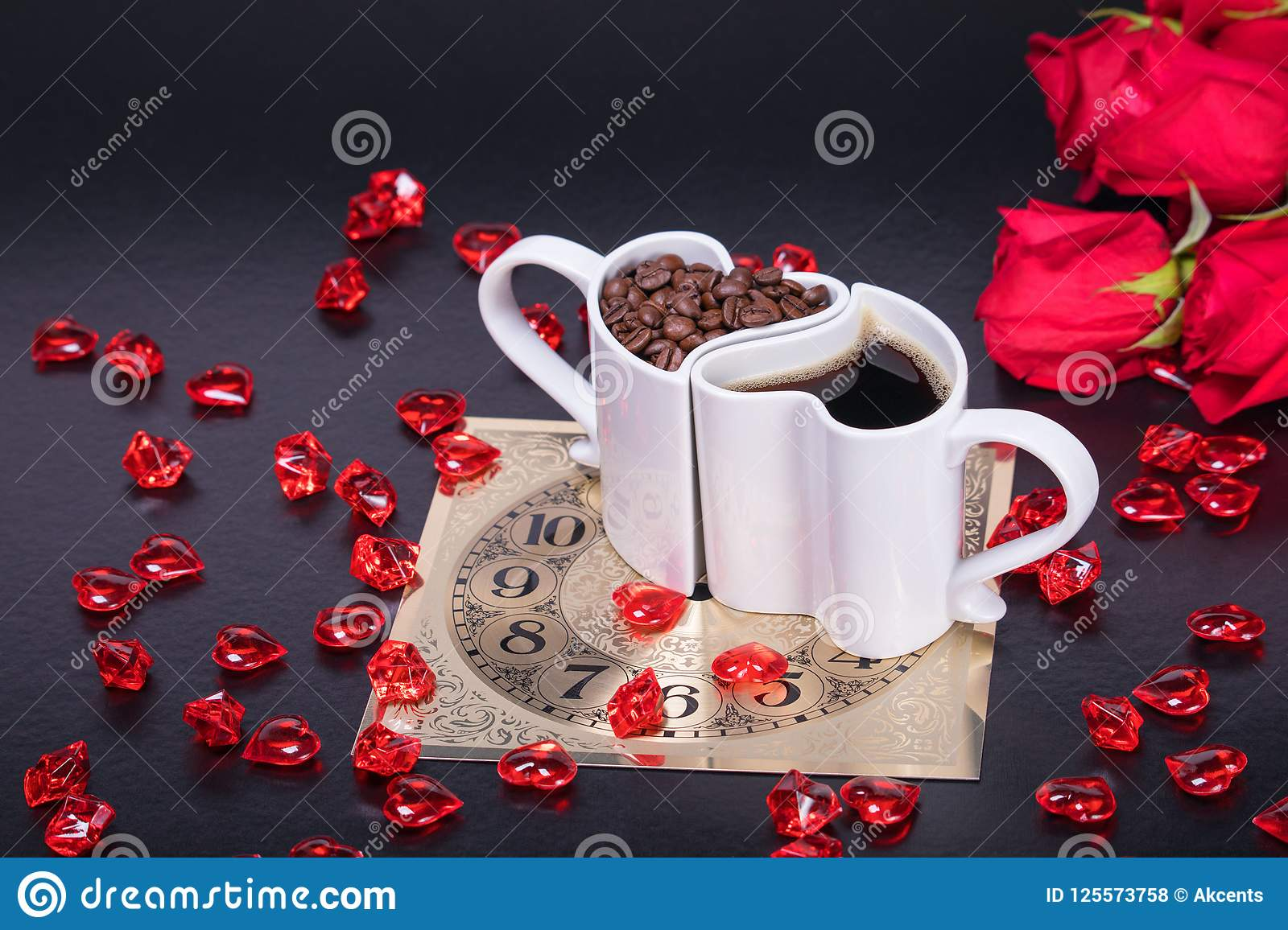 Heart Shaped Coffee Cup Filled With Coffee Beans And Coffee Stock Photo Image Of Food Flavor 125573758
