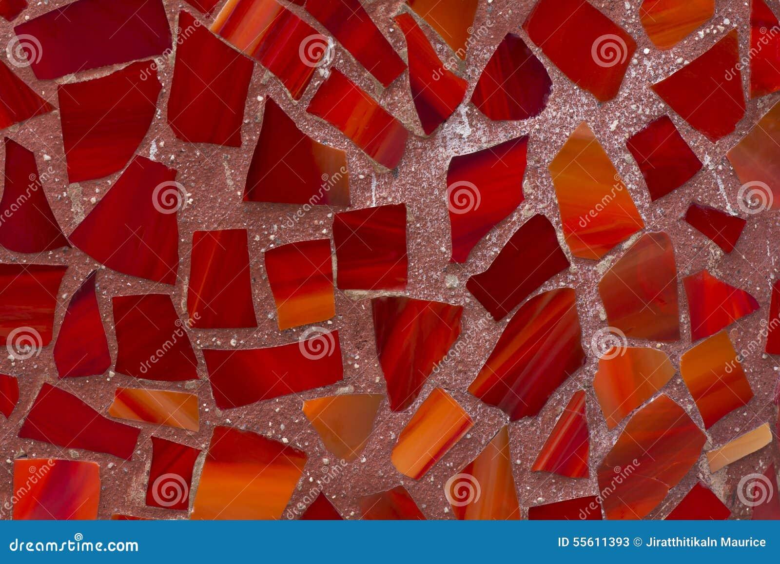Red Glass Mosaic Wall Pattern Stock Photo Image 55611393