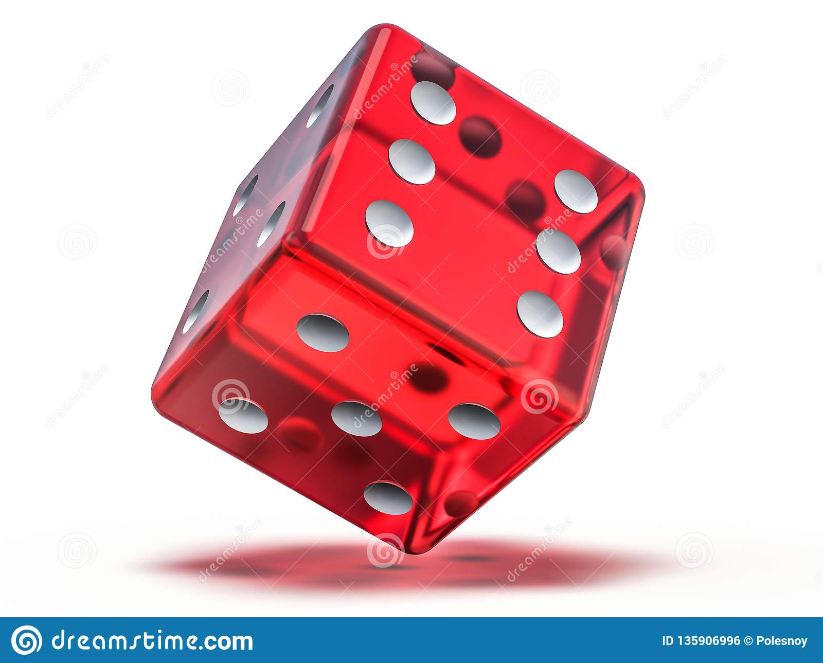 Red glass playing dice isolated on white background. 3D