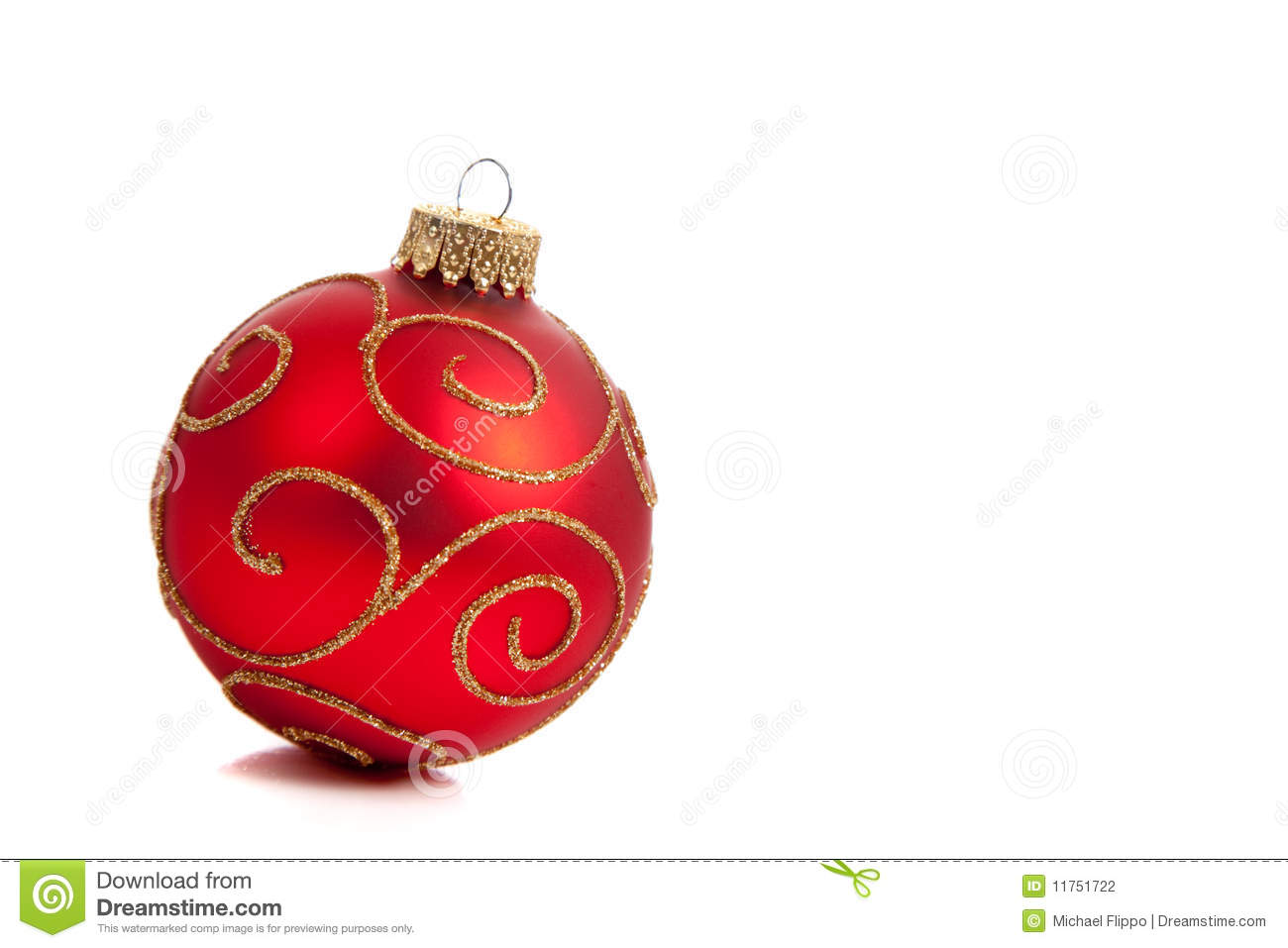 A red glittery christmas ornament on white stock photo
