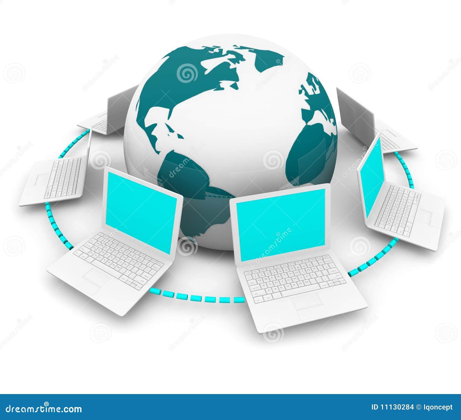 Red global de computadoras port tiles alrededor de la - Fotos de ordenadores ...