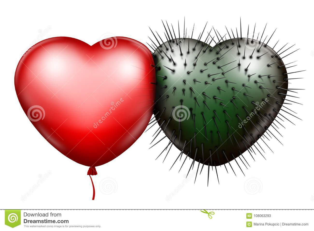 Red Glossy Heart And Green Spiked Heart Stock Illustration