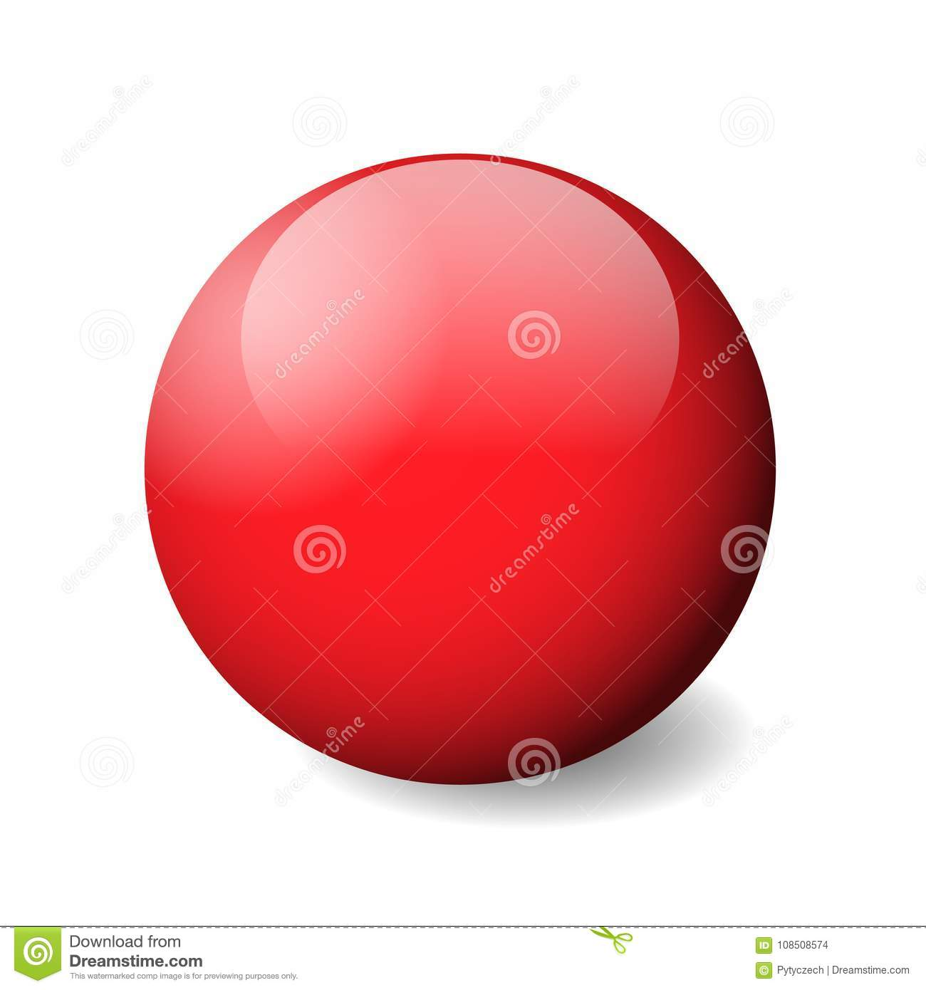 Red glossy sphere, ball or orb. 3D vector object with dropped shadow on white background