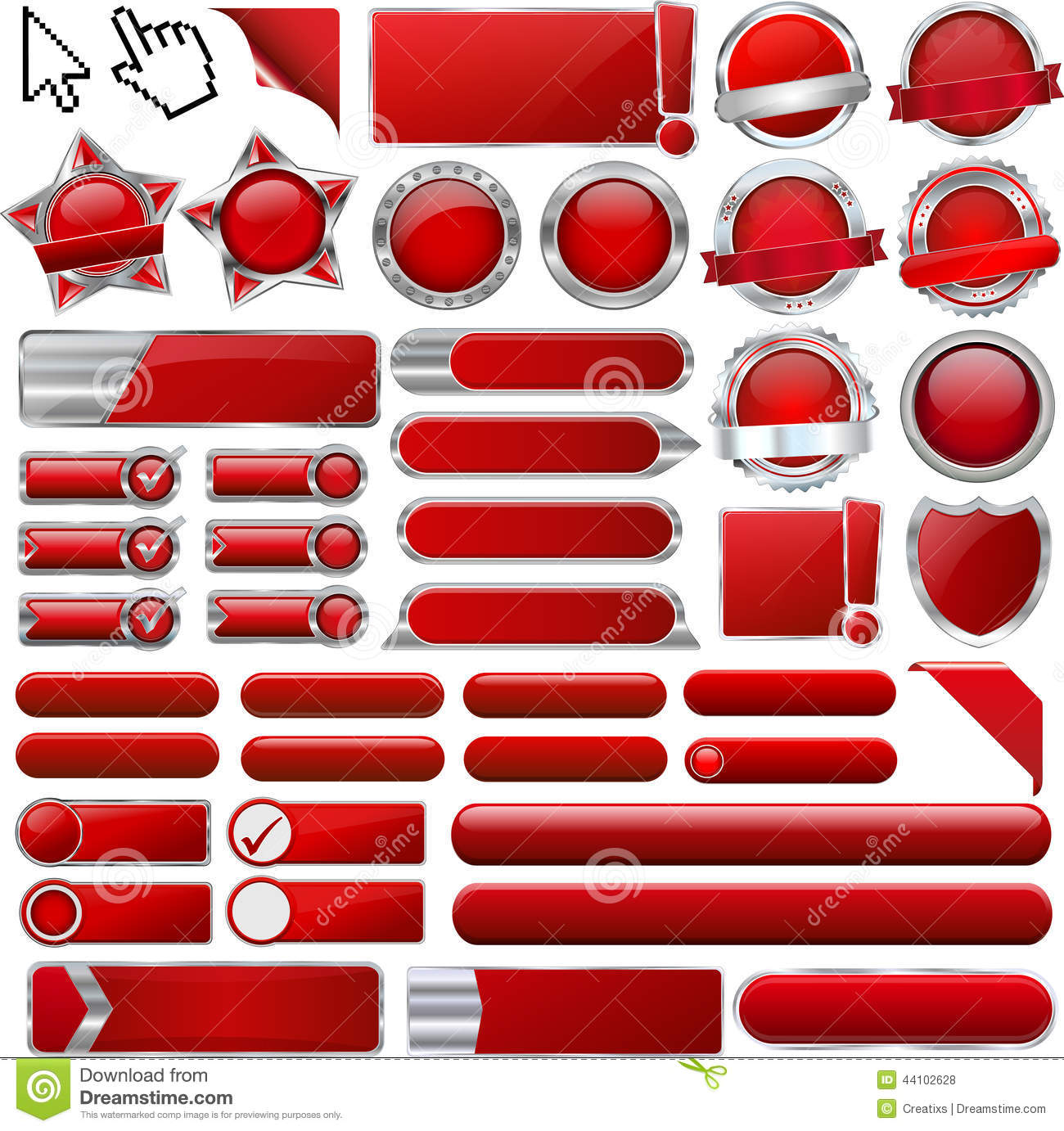 Red Glossy Web Icons and Buttons