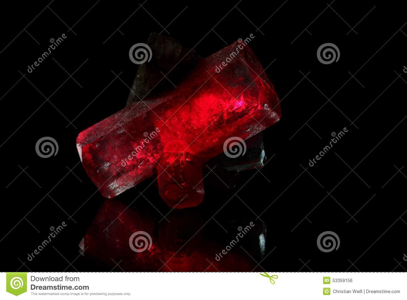 Red glowing crystals