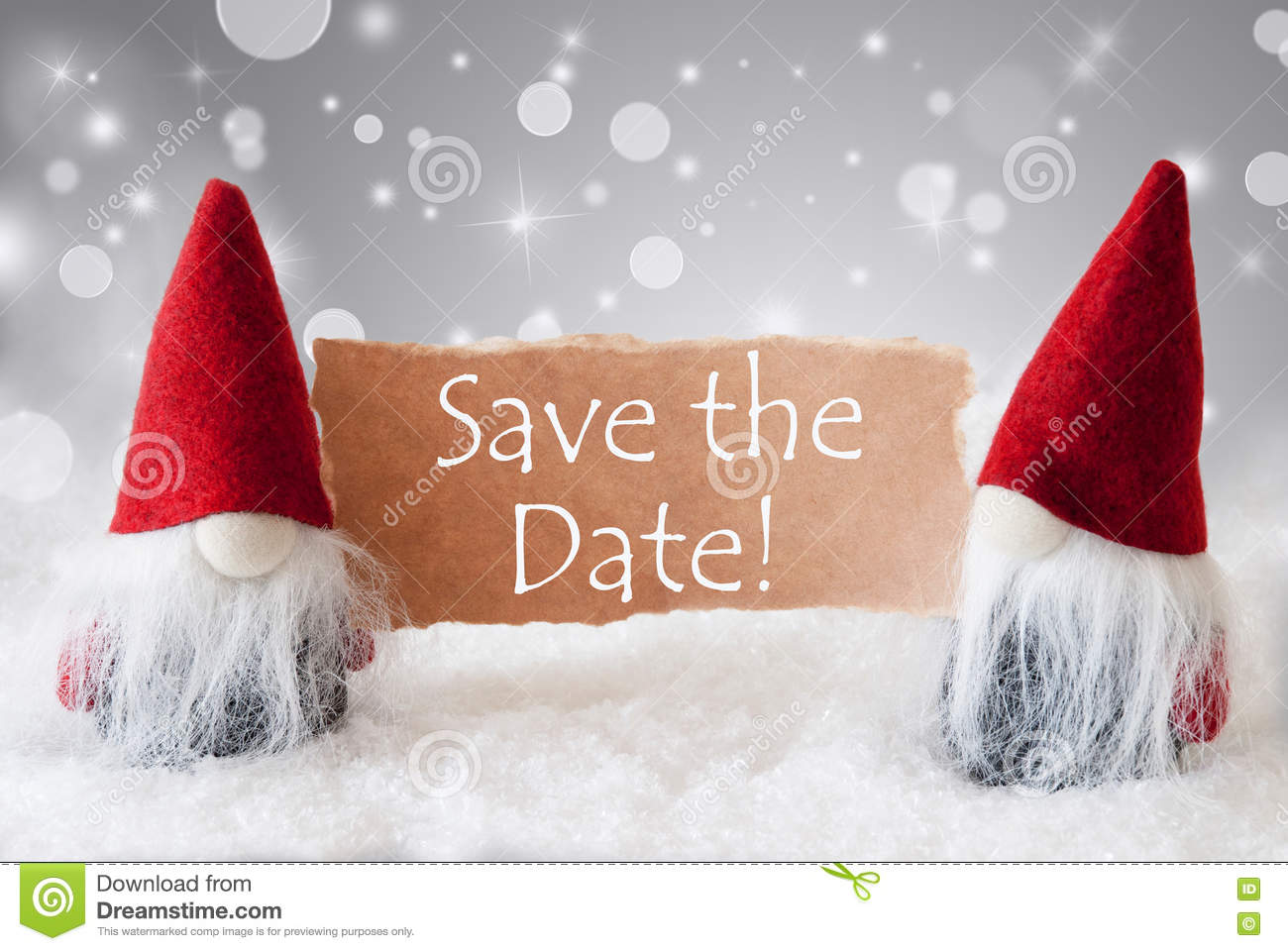 Save The Date Weihnachtsfeier.Red Gnomes With Snow Text Save The Date Stock Image Image Of
