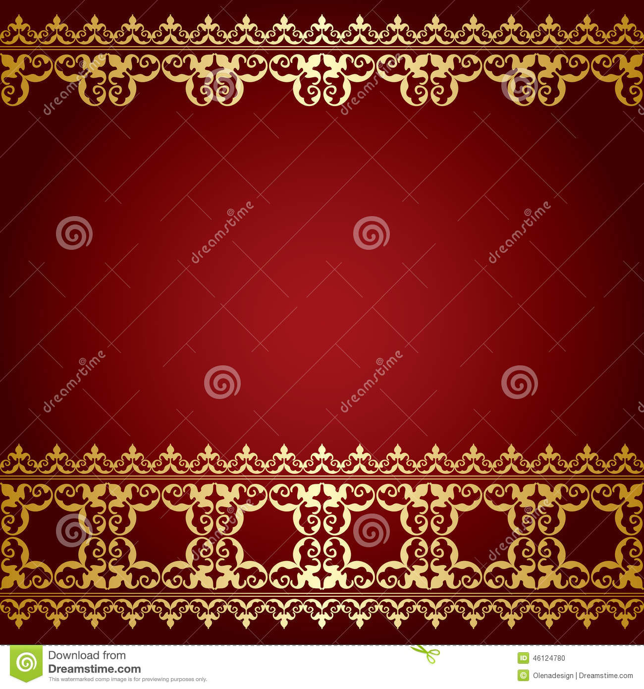 Red and gold vector background with vintage border stock for Red with gold