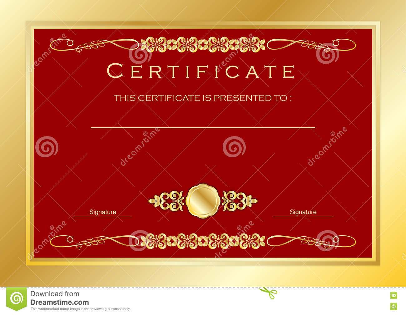 Red Gold Certificate / Diploma Award Template, Luxury ...