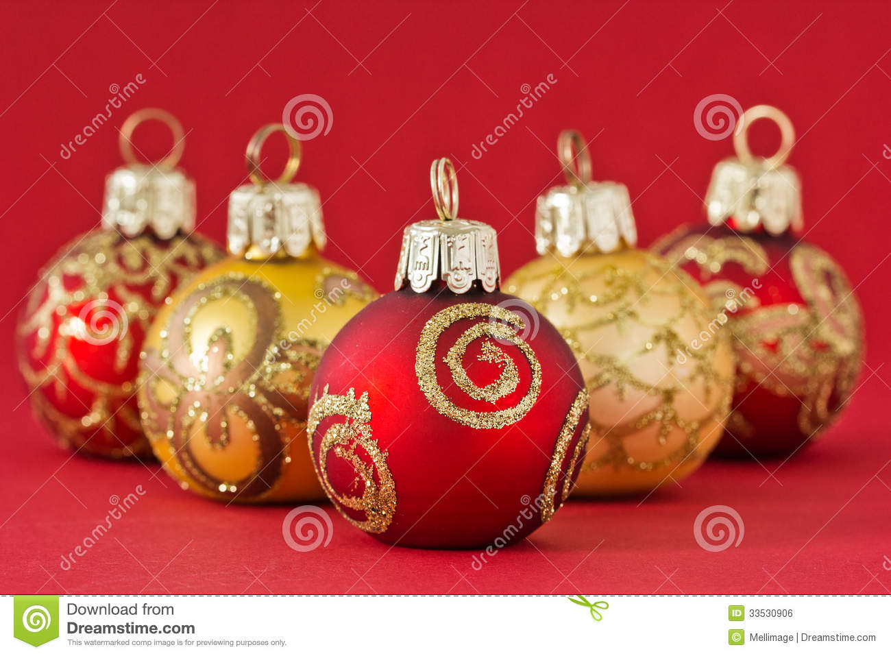 Free Illustration Background Christmas Red Gold: Red And Gold Christmas Balls Royalty Free Stock Image