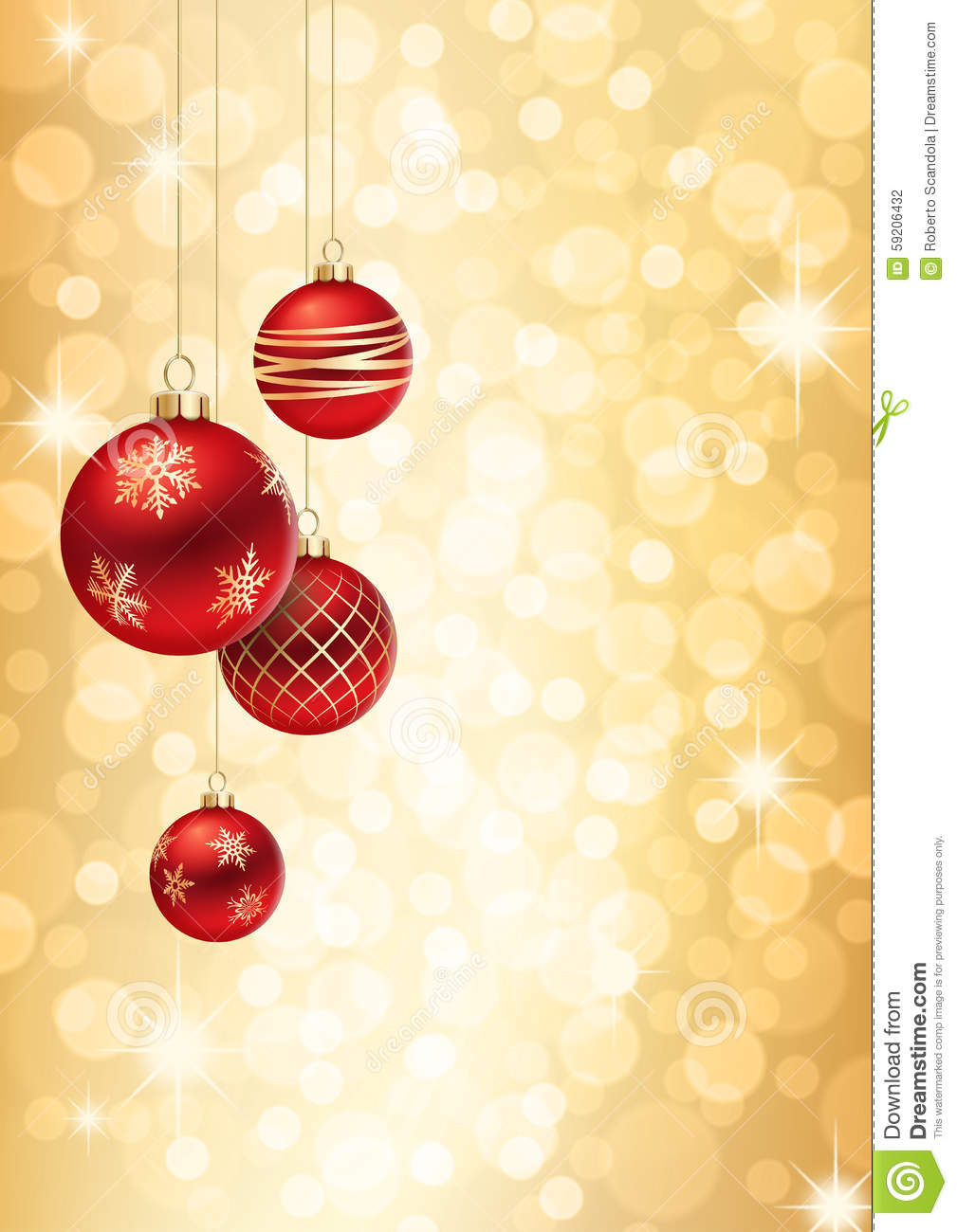 red and gold christmas balls on golden flare background stock vector