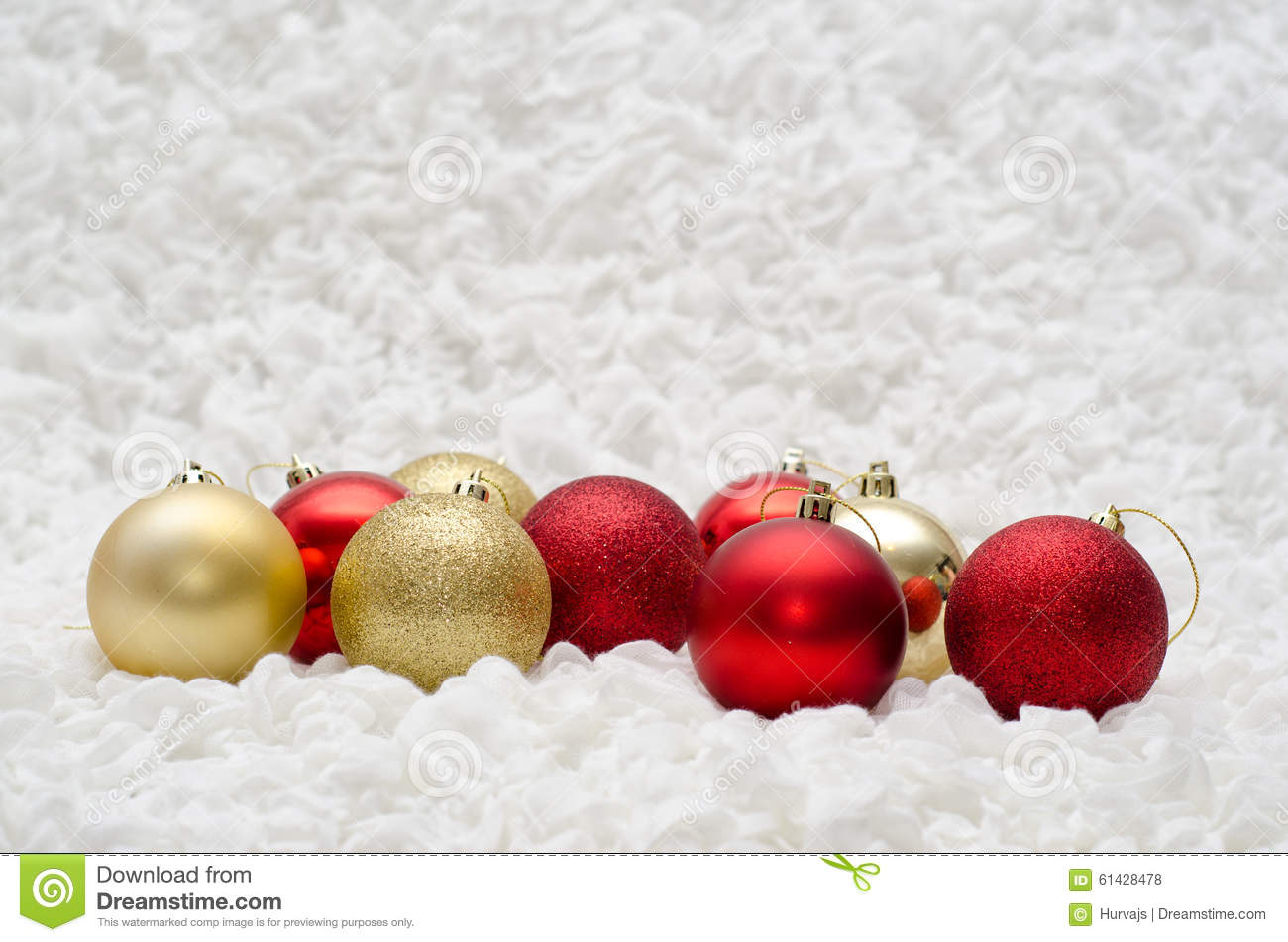 red and gold christmas balls ornaments on white background - White And Gold Christmas Ornaments
