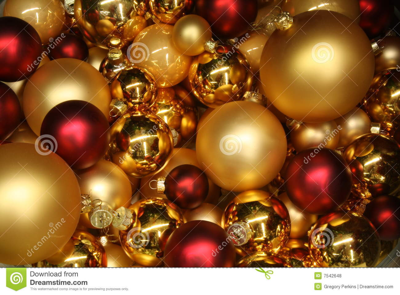 95ec32d62b37 Red And Gold Christmas Baubles Stock Photo - Image of celebrate ...