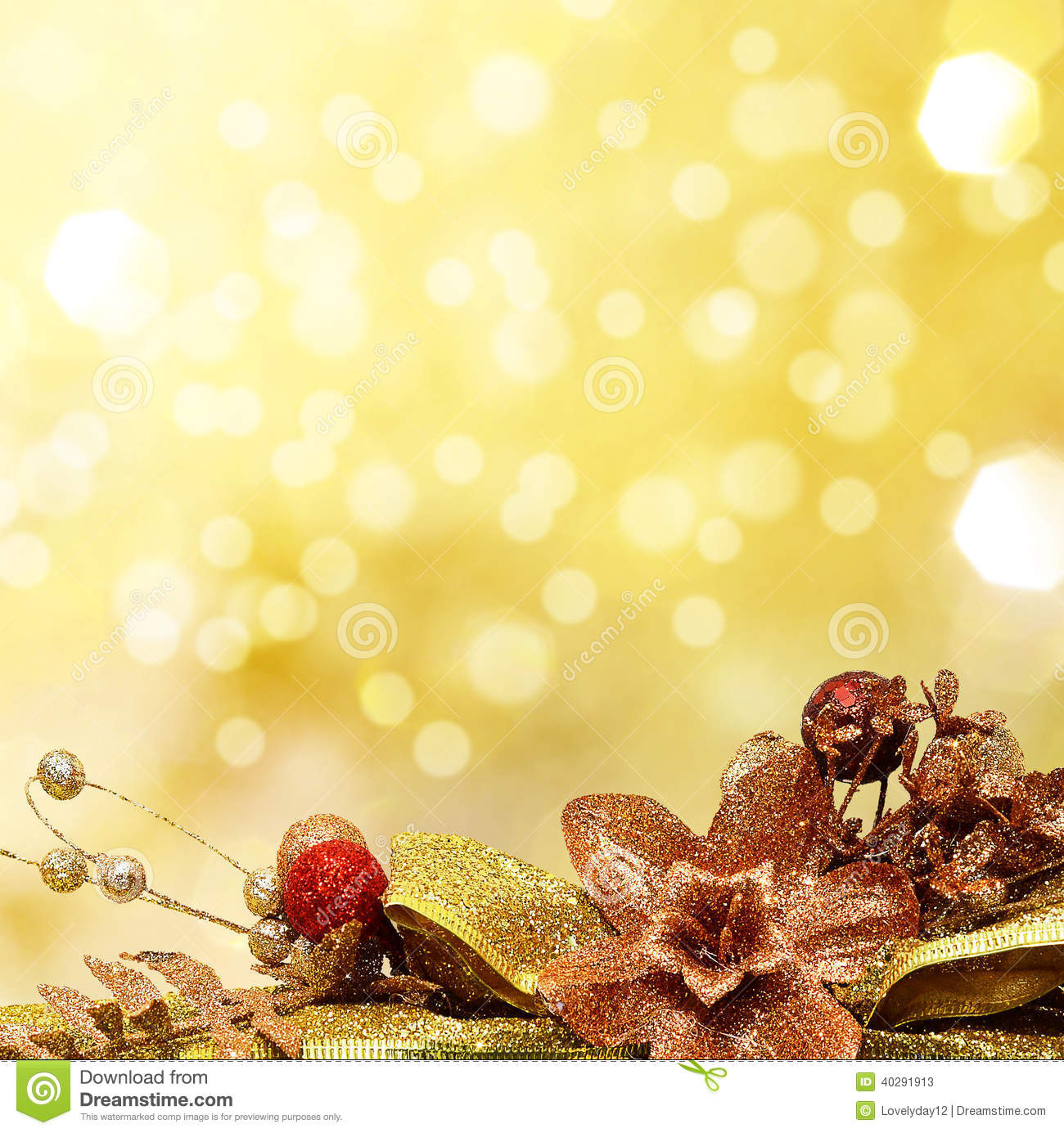 Red And Gold Christmas Baubles On Background Stock Photo - Image ...