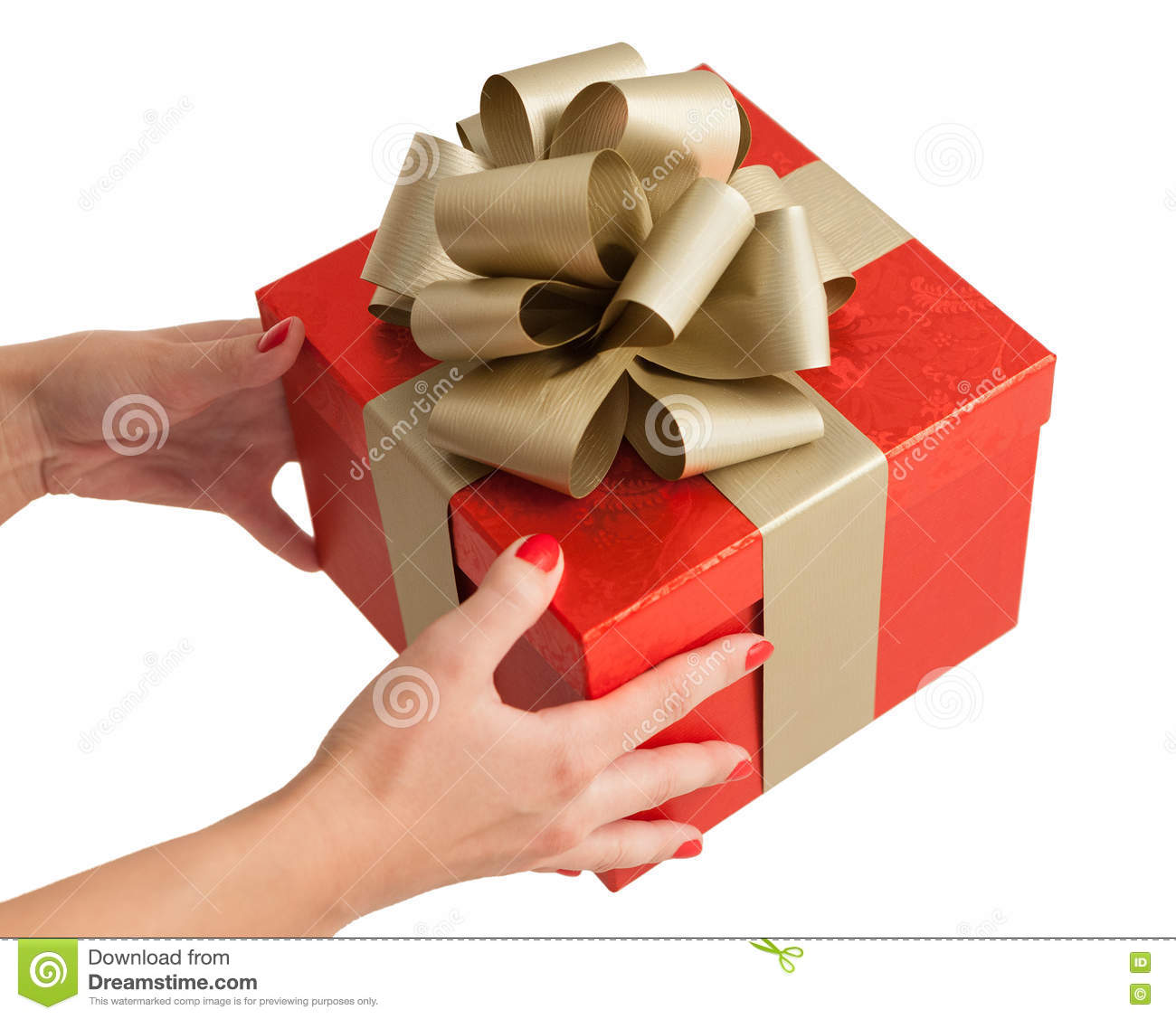 Red gold christmas birthday gift box holding hands stock photo royalty free stock photo negle Image collections