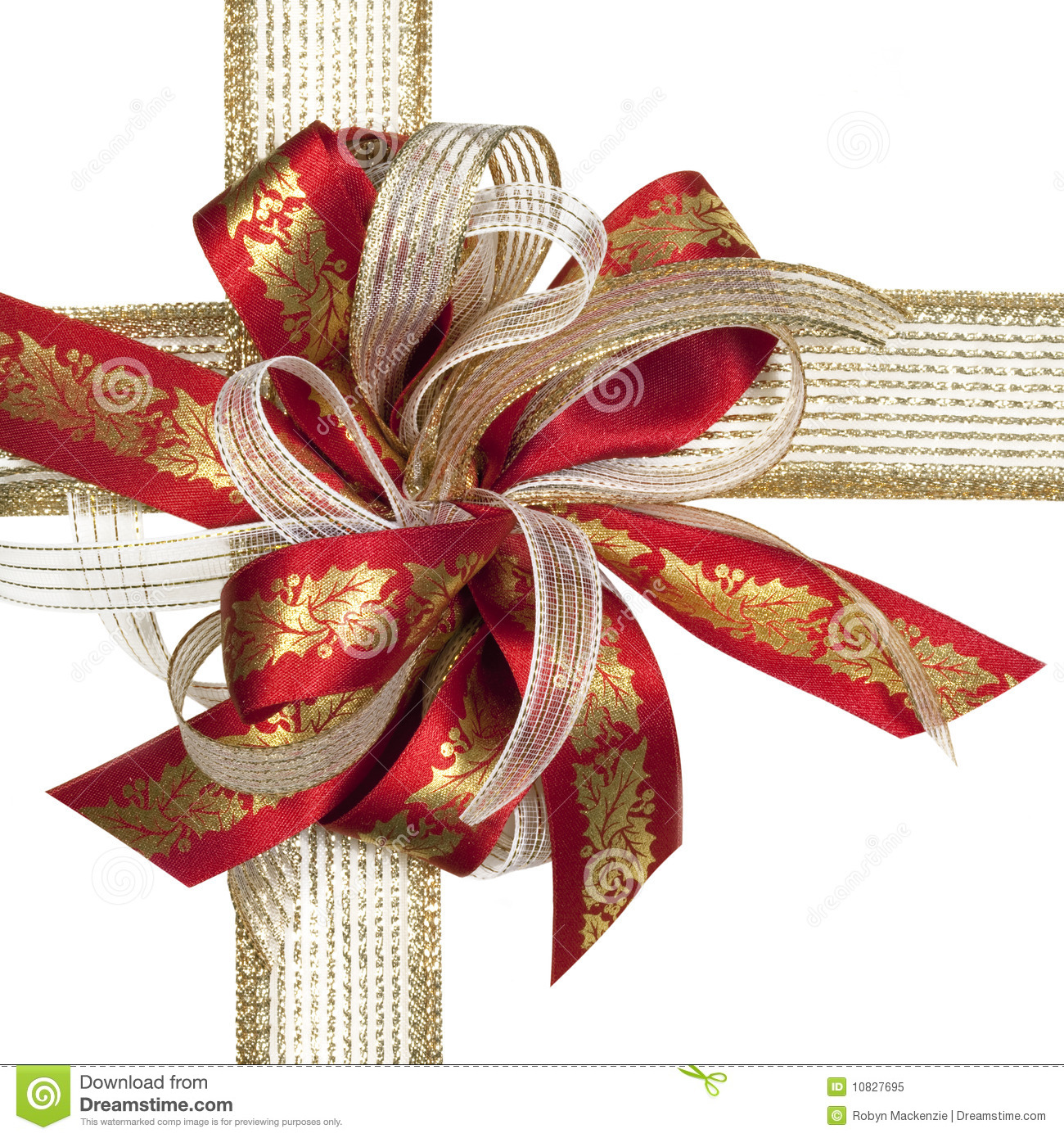 Red and gold christmas bow stock image of nobody