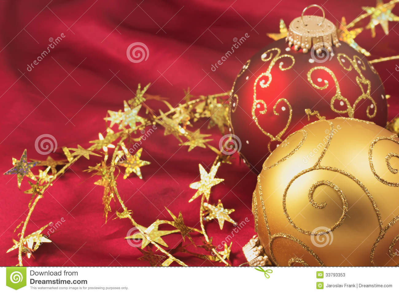 Free Illustration Background Christmas Red Gold: Red And Gold Christmas Bulbs On A Red Background Stock