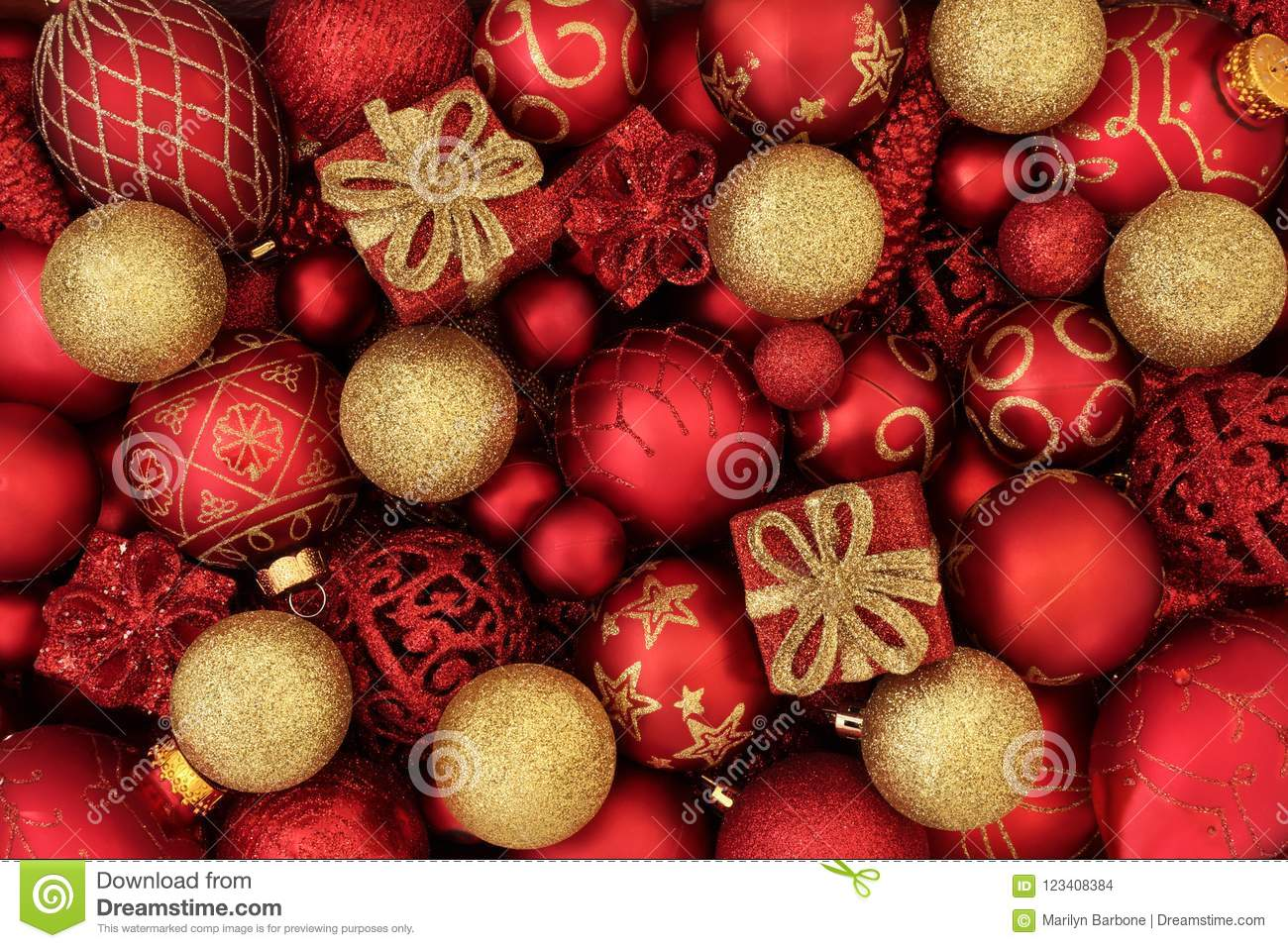 red gold christmas decorations bauble forming abstract festive background traditional greeting card holiday season 123408384