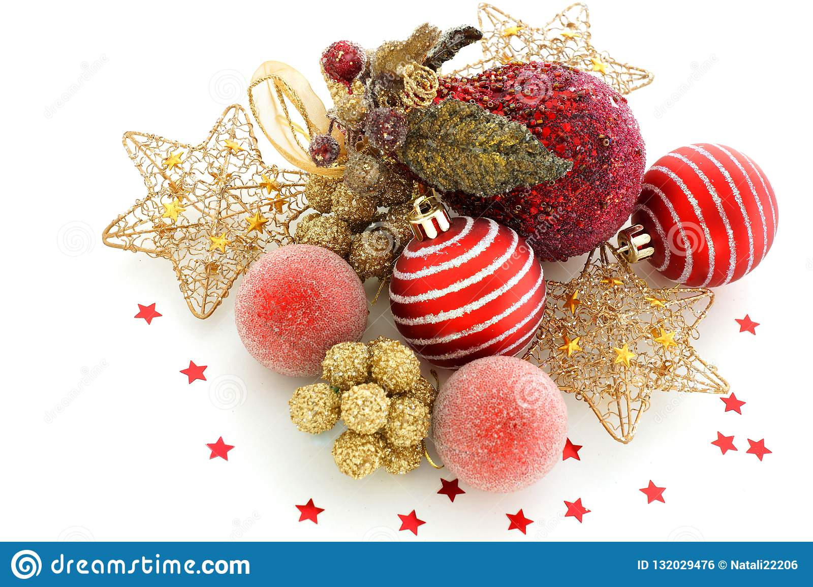 red gold christmas decorations white background very beautiful variety holiday table stars scattered around 132029476