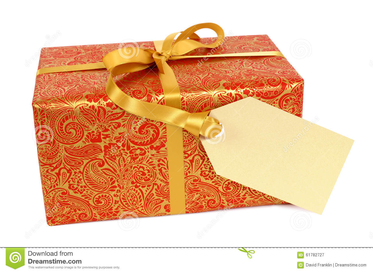 red and gold christmas gift with gift tag label isolated on white