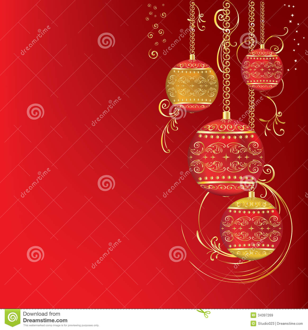 Red And Gold Christmas Ornament Stock Vector
