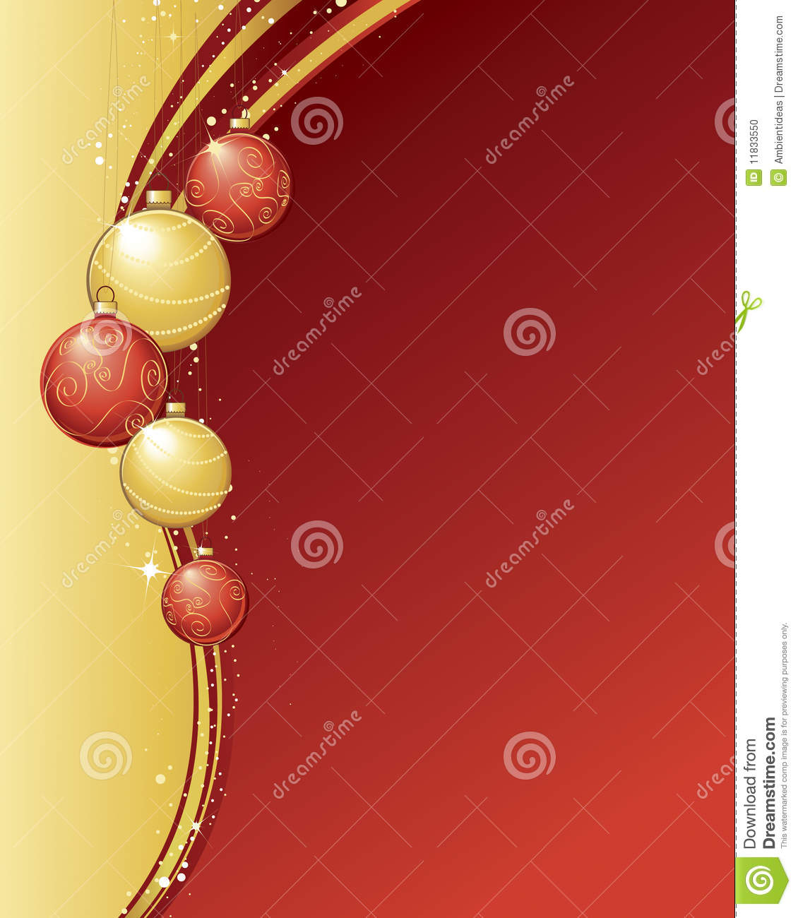 Christmas Ornaments Red And Gold : Red and gold christmas ornaments stock photo image