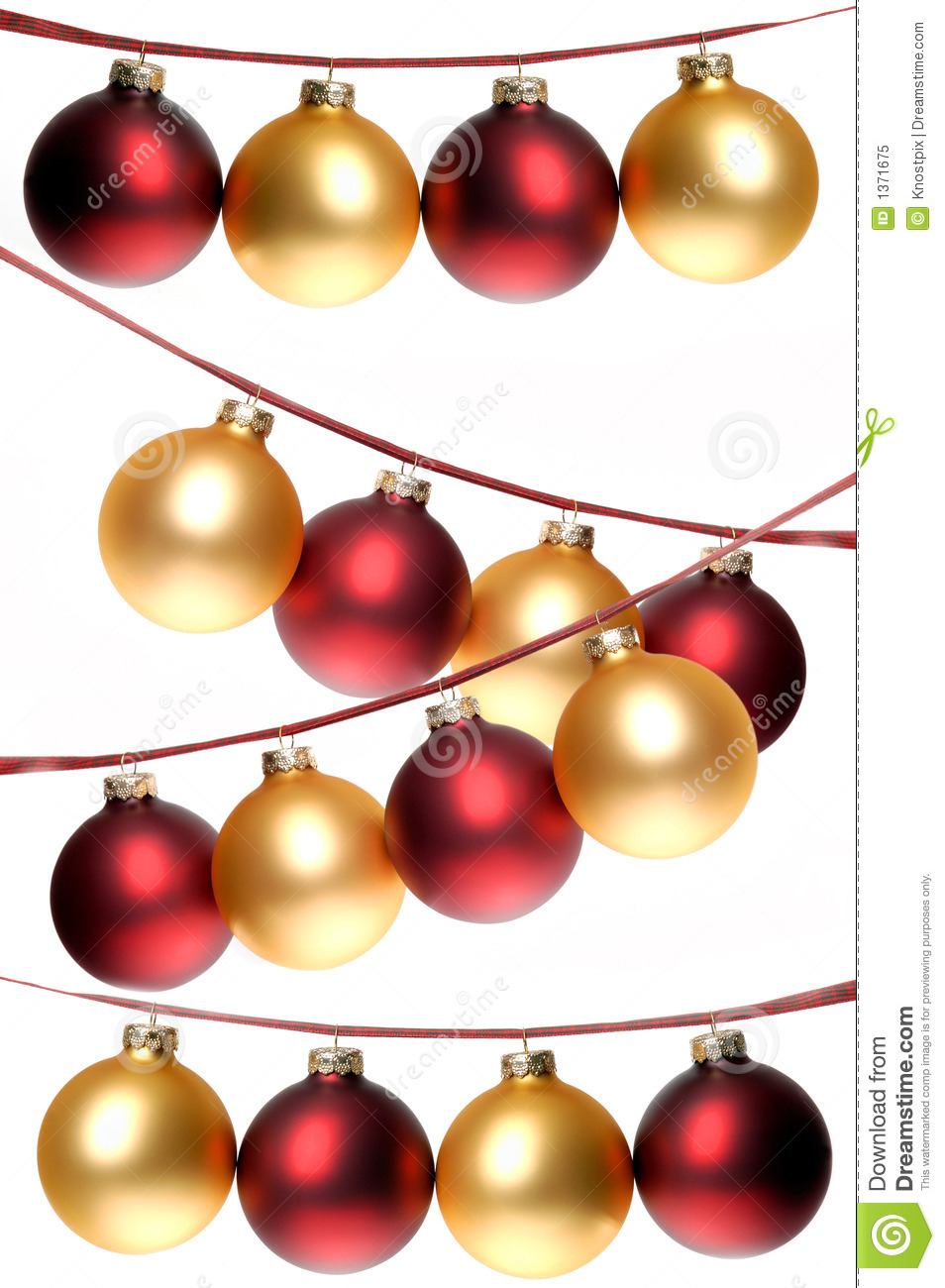 red and gold christmas ornaments strung in rows on plaid ribbon