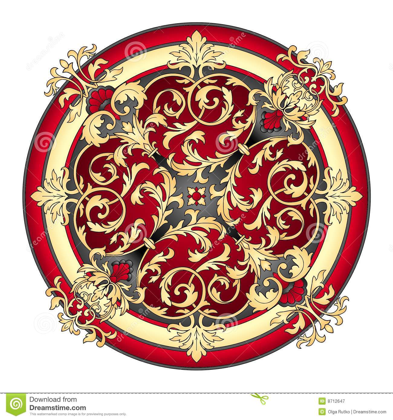 Red And Gold Eastern Ornament Vector Royalty Free Stock