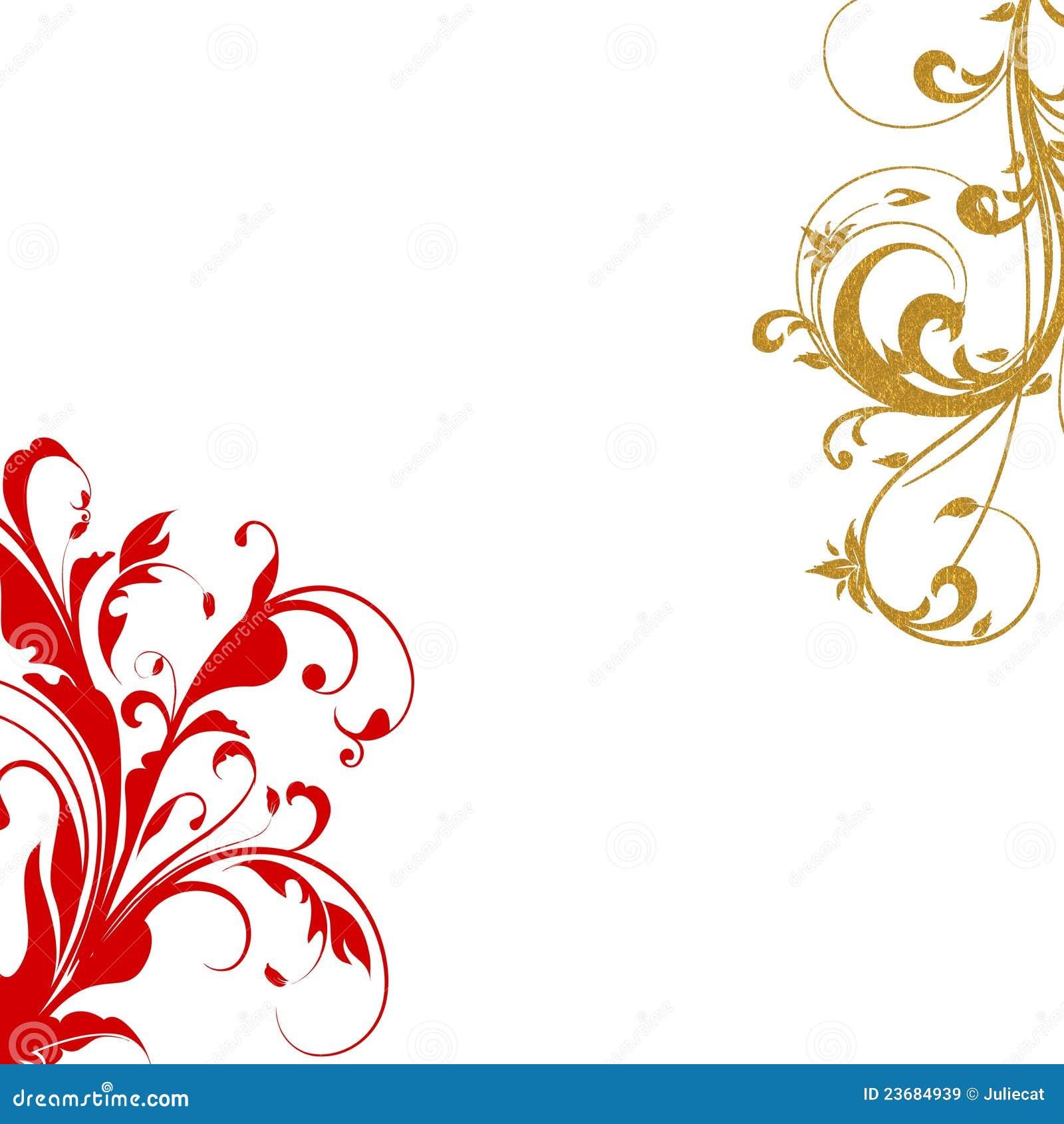Red gold flourish swirls